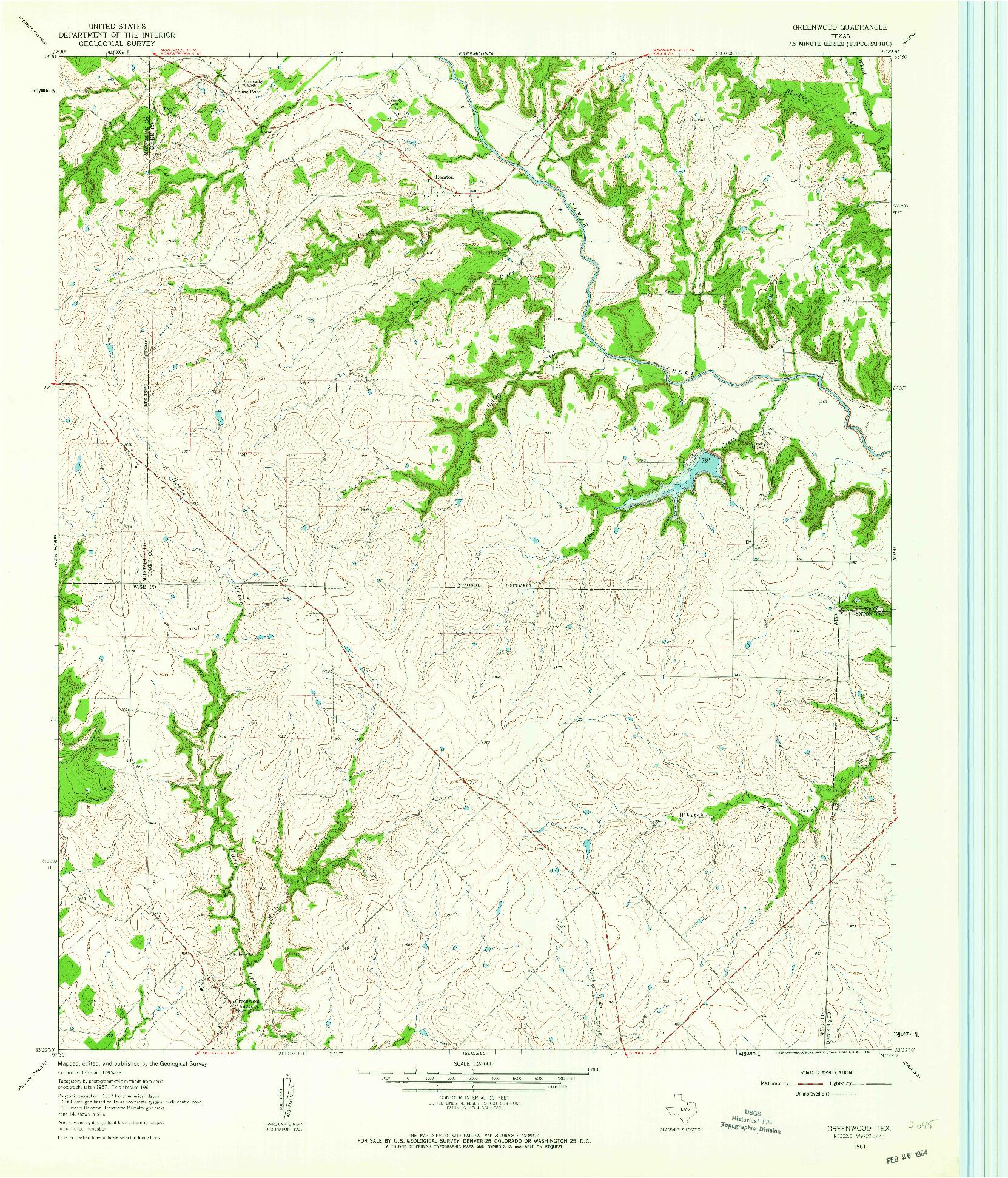 USGS 1:24000-SCALE QUADRANGLE FOR GREENWOOD, TX 1961