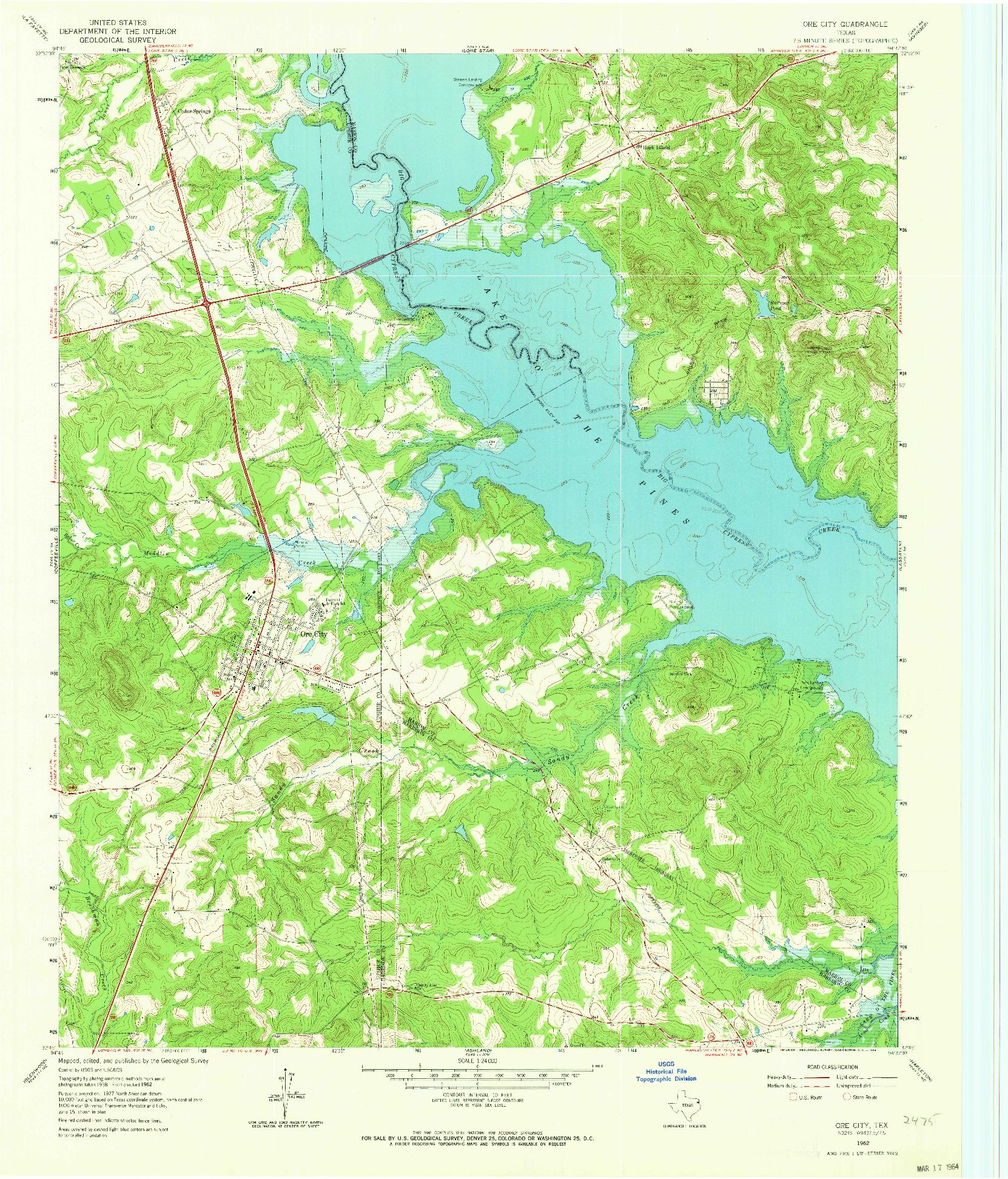 USGS 1:24000-SCALE QUADRANGLE FOR ORE CITY, TX 1962