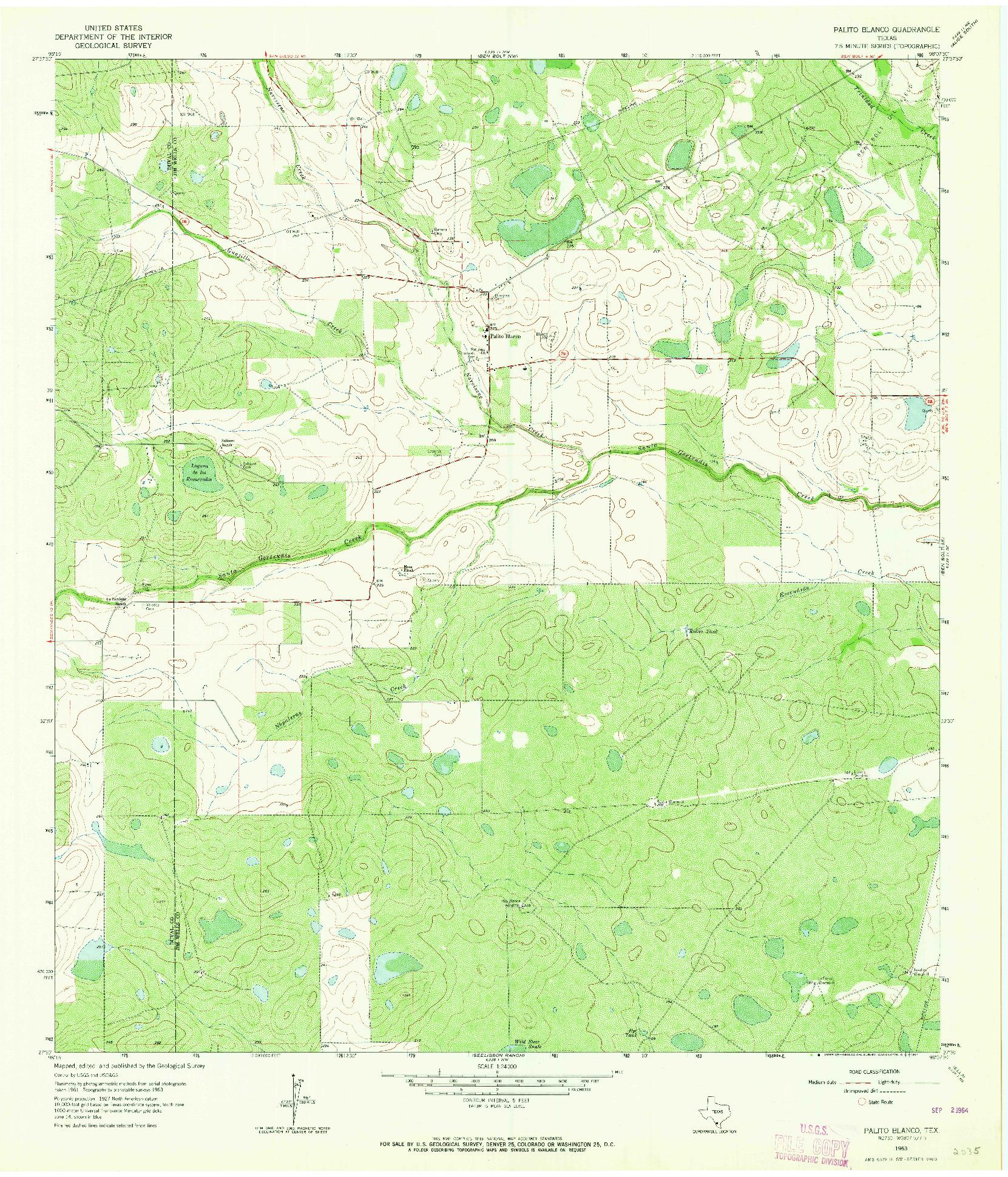USGS 1:24000-SCALE QUADRANGLE FOR PALITO BLANCO, TX 1963