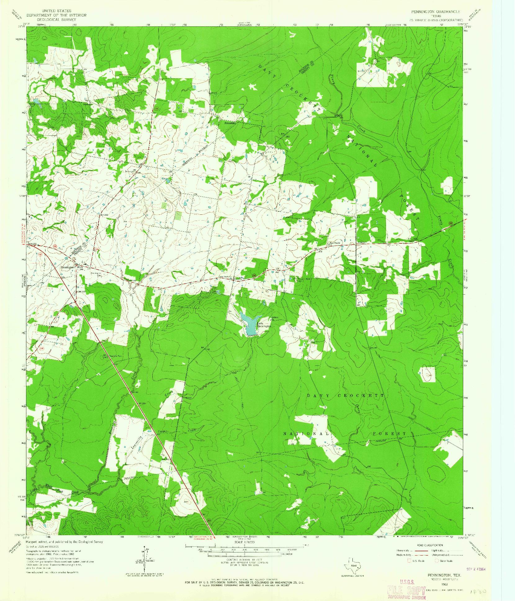 USGS 1:24000-SCALE QUADRANGLE FOR PENNINGTON, TX 1963
