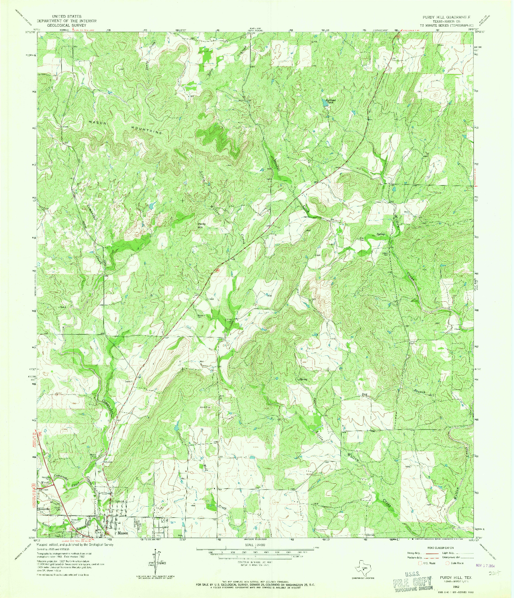 USGS 1:24000-SCALE QUADRANGLE FOR PURDY HILL, TX 1962