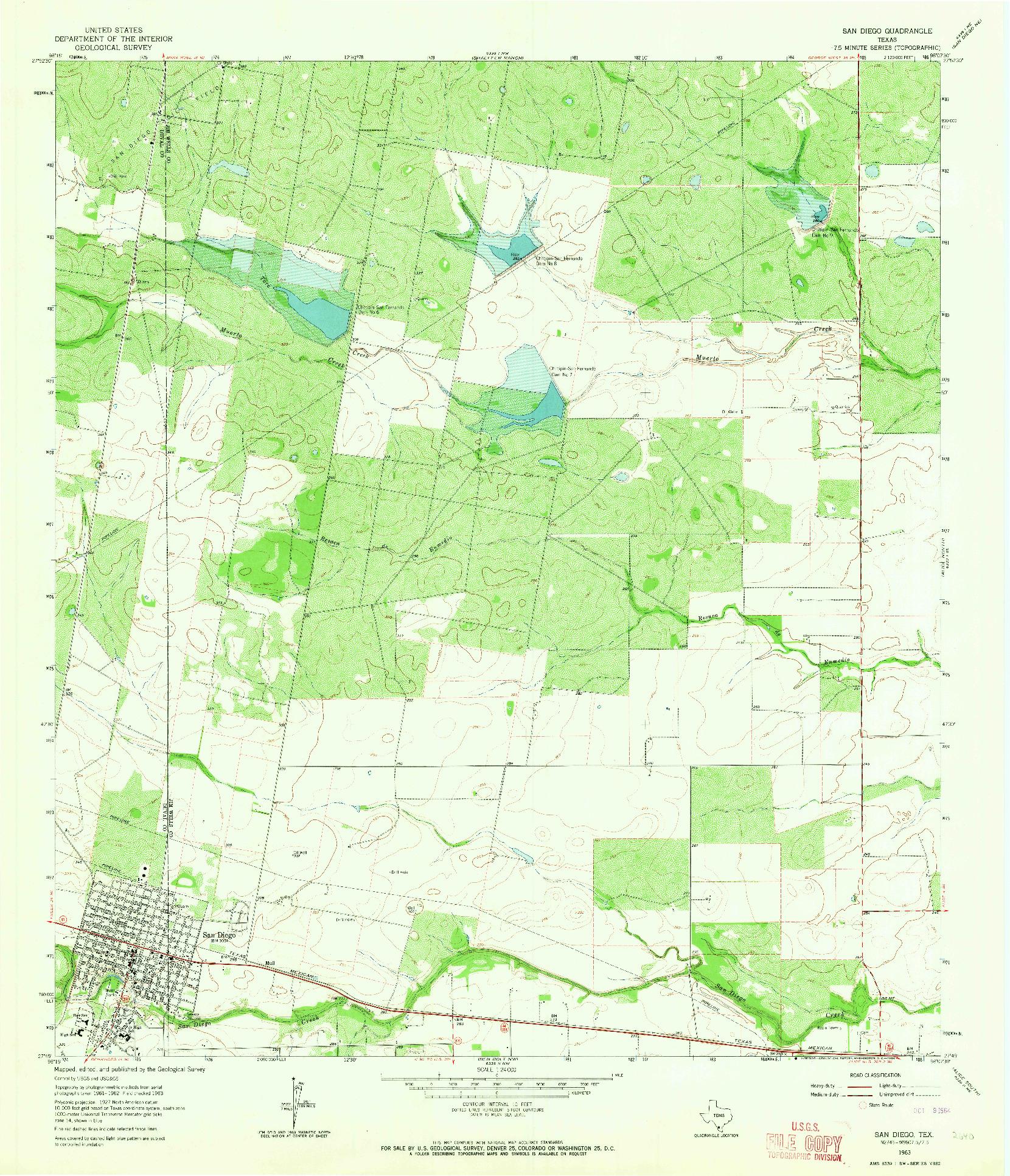 USGS 1:24000-SCALE QUADRANGLE FOR SAN DIEGO, TX 1963