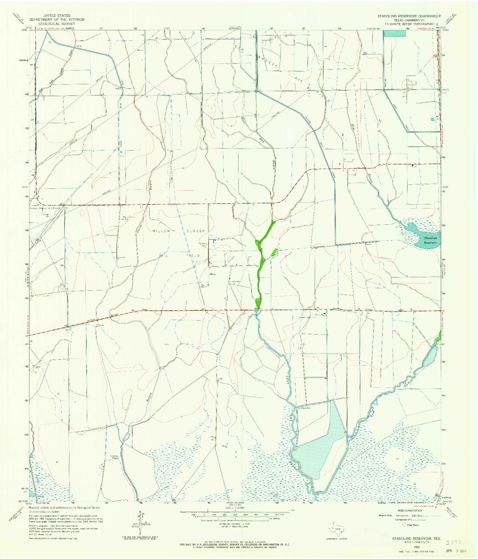 USGS 1:24000-SCALE QUADRANGLE FOR STANOLIND RESERVOIR, TX 1962