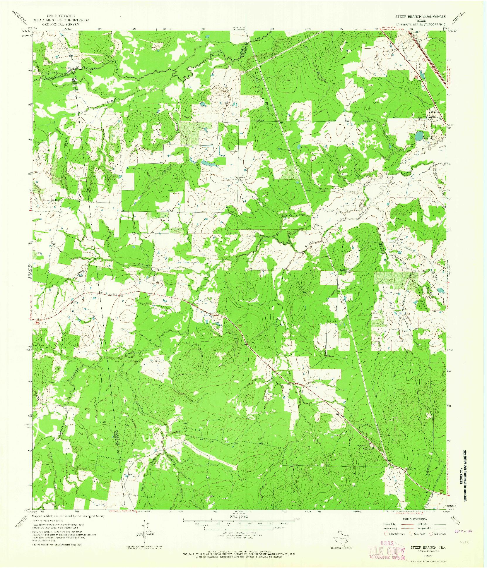 USGS 1:24000-SCALE QUADRANGLE FOR STEEP BRANCH, TX 1963