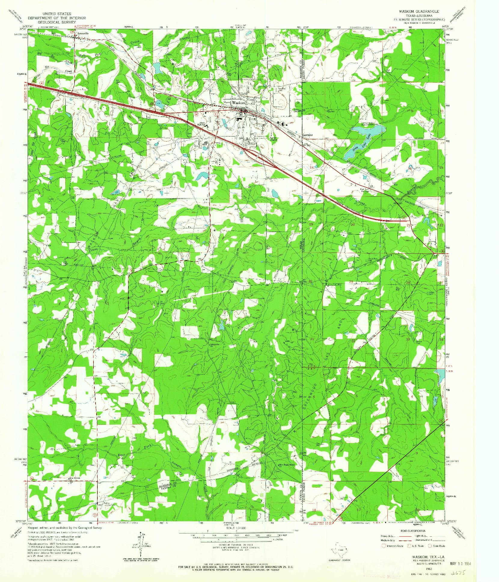 USGS 1:24000-SCALE QUADRANGLE FOR WASKOM, TX 1962