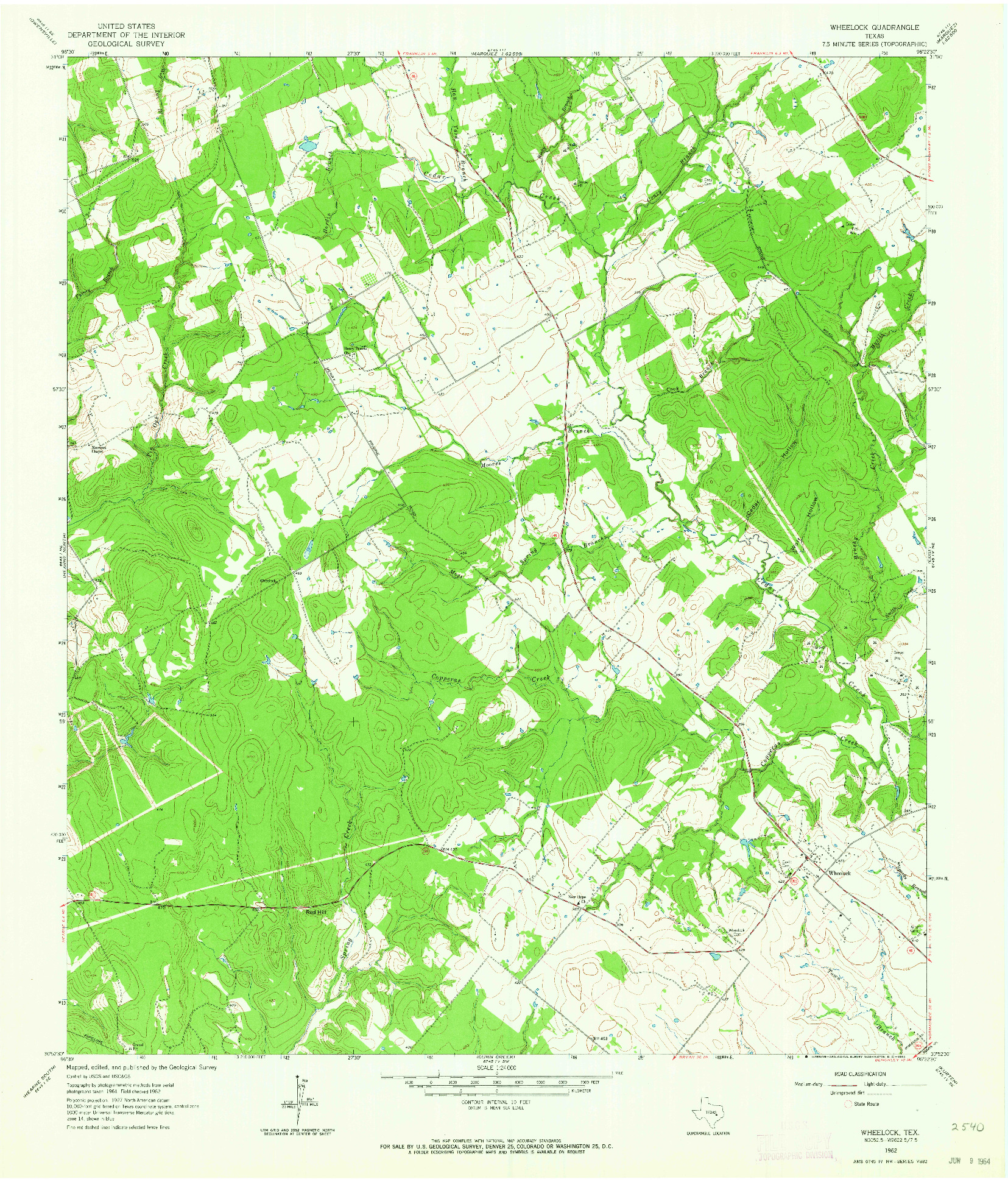 USGS 1:24000-SCALE QUADRANGLE FOR WHEELOCK, TX 1962