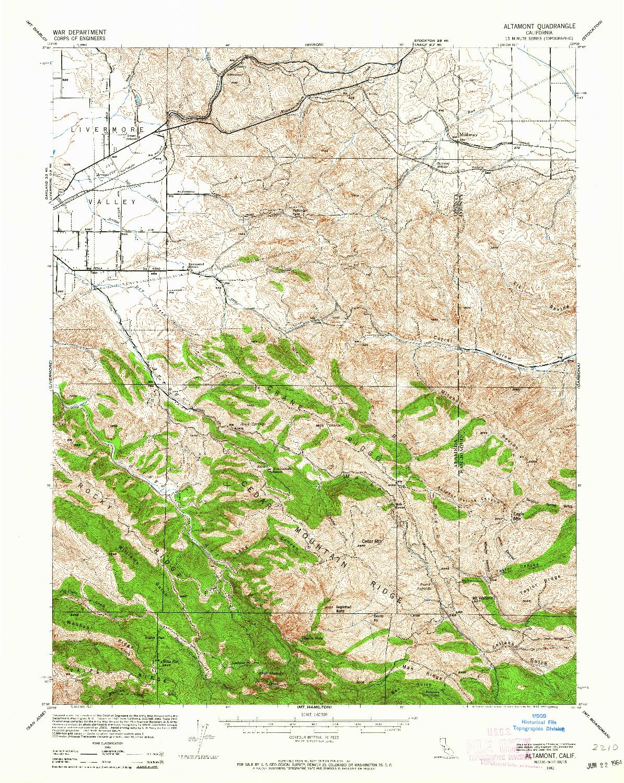 USGS 1:62500-SCALE QUADRANGLE FOR ALTAMONT, CA 1942
