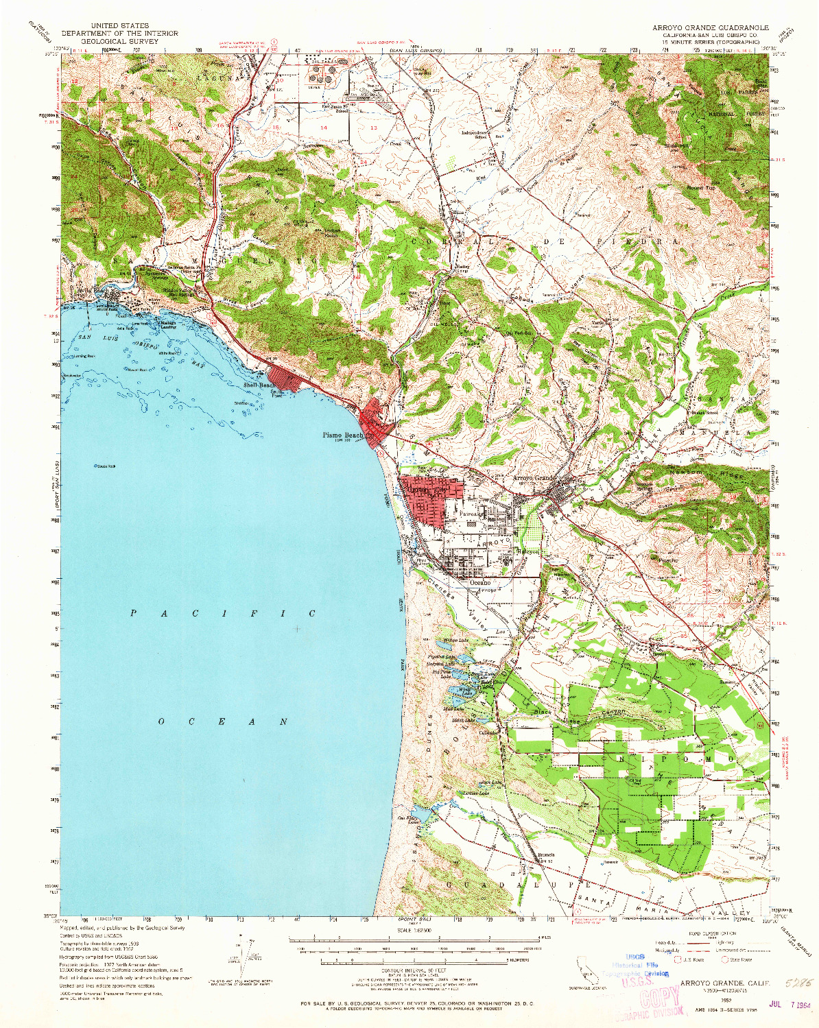 USGS 1:62500-SCALE QUADRANGLE FOR ARROYO GRANDE, CA 1952