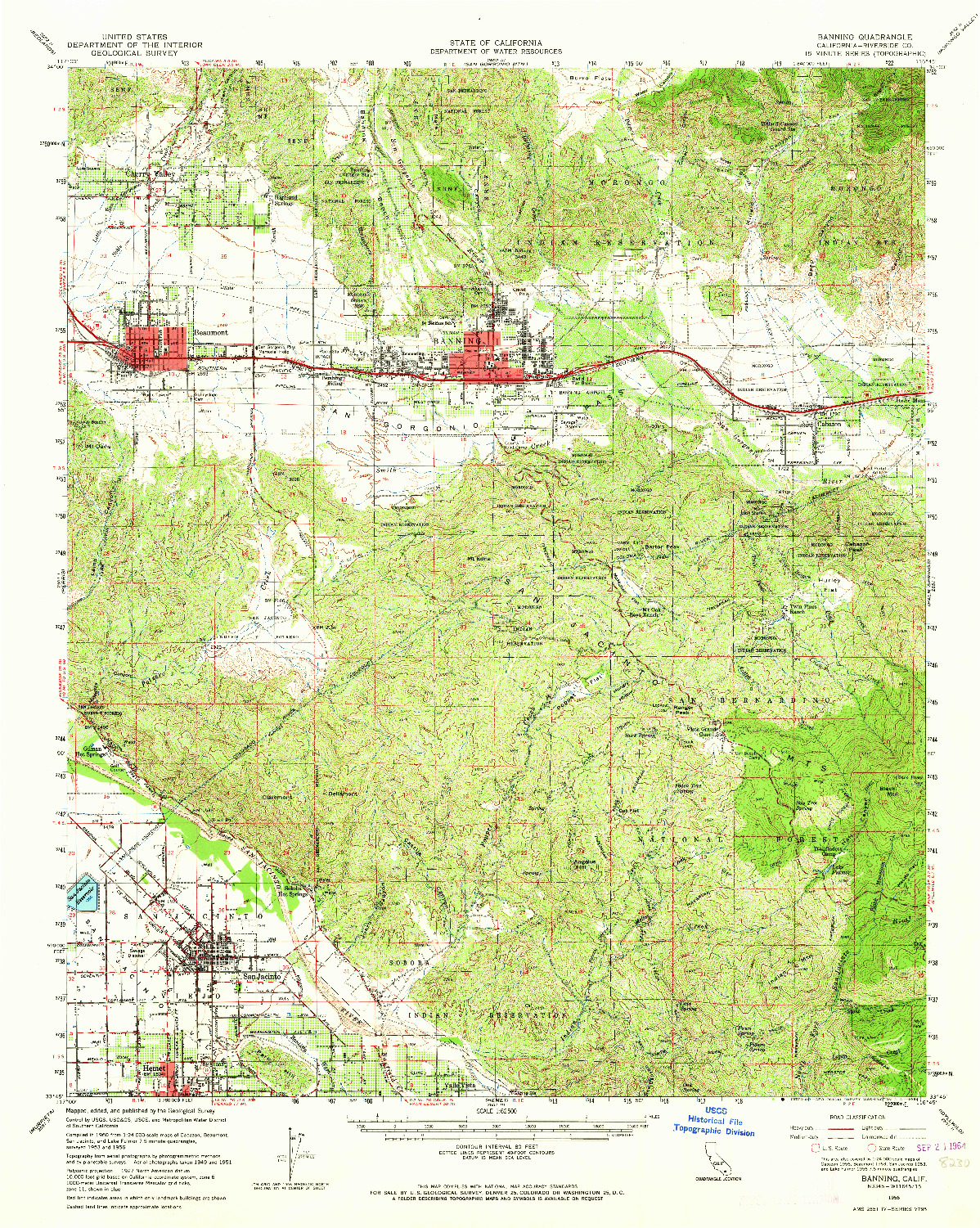 USGS 1:62500-SCALE QUADRANGLE FOR BANNING, CA 1956