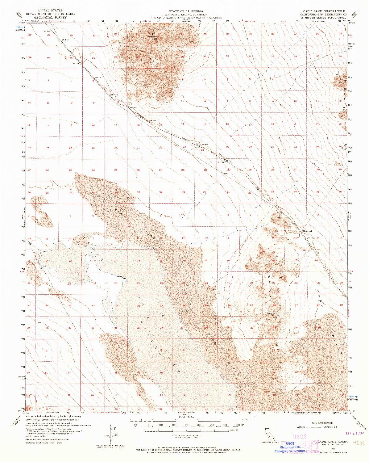 USGS 1:62500-SCALE QUADRANGLE FOR CADIZ LAKE, CA 1956