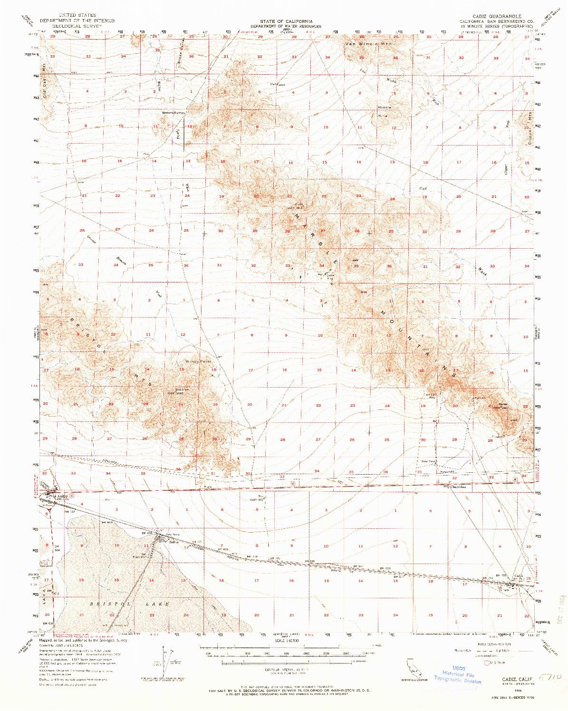 USGS 1:62500-SCALE QUADRANGLE FOR CADIZ, CA 1956