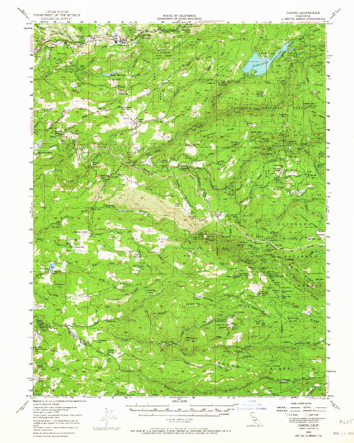 USGS 1:62500-SCALE QUADRANGLE FOR CAMINO, CA 1952