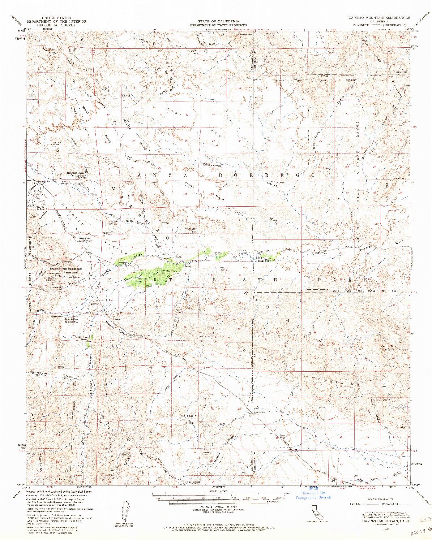 USGS 1:62500-SCALE QUADRANGLE FOR CARRIZO MOUNTAIN, CA 1959