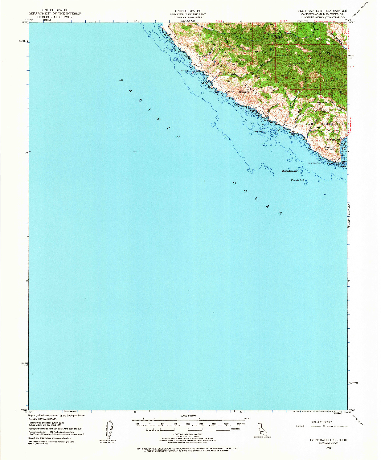 USGS 1:62500-SCALE QUADRANGLE FOR PORT SAN LUIS, CA 1951