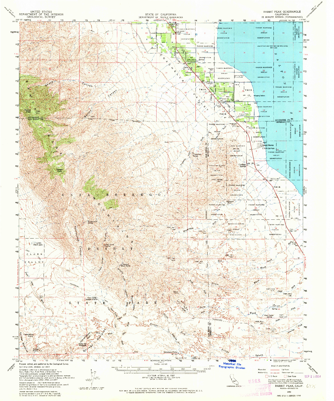USGS 1:62500-SCALE QUADRANGLE FOR RABBIT PEAK, CA 1959