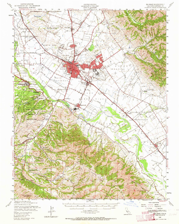 USGS 1:62500-SCALE QUADRANGLE FOR SALINAS, CA 1947