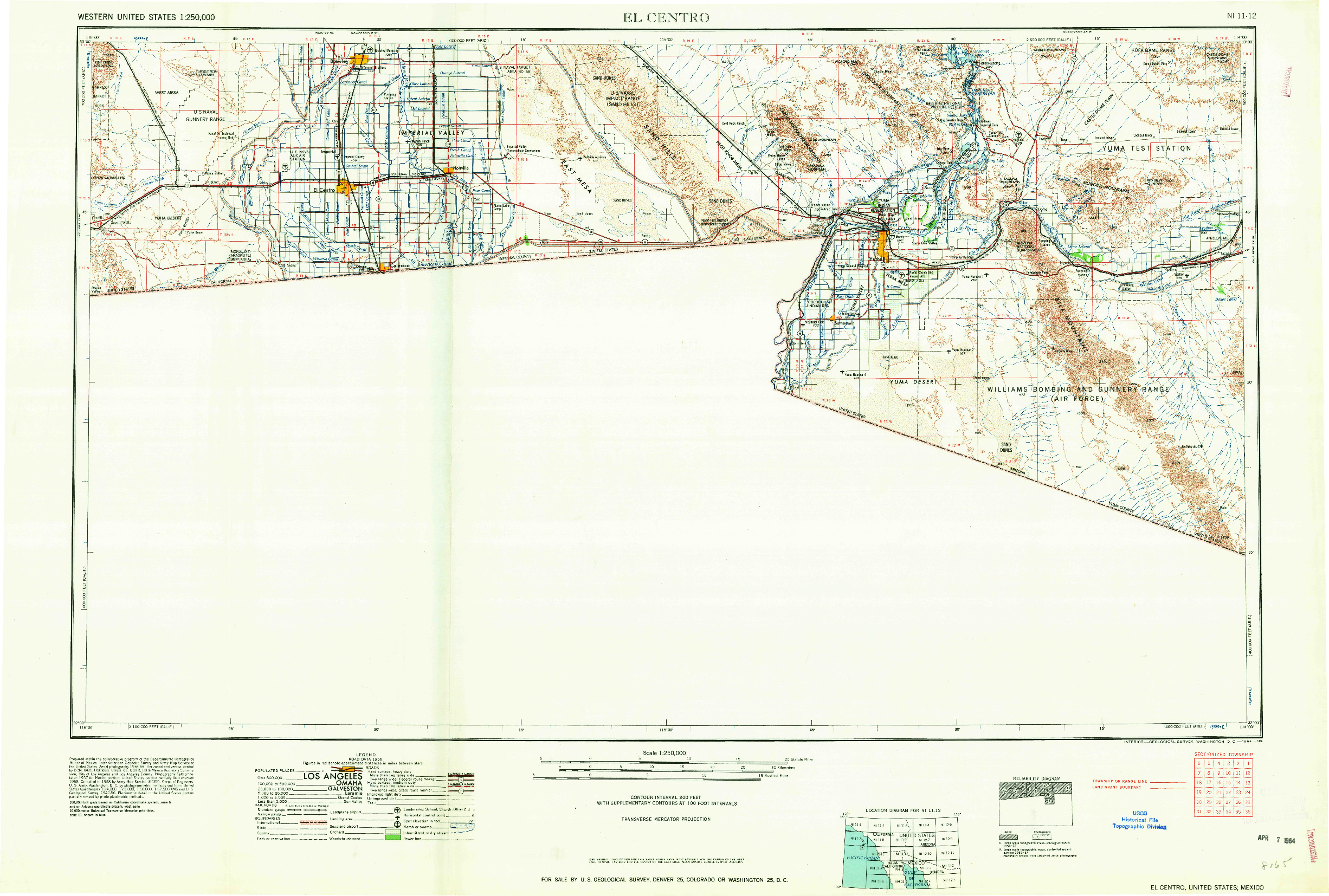 USGS 1:250000-SCALE QUADRANGLE FOR EL CENTRO, CA 1964