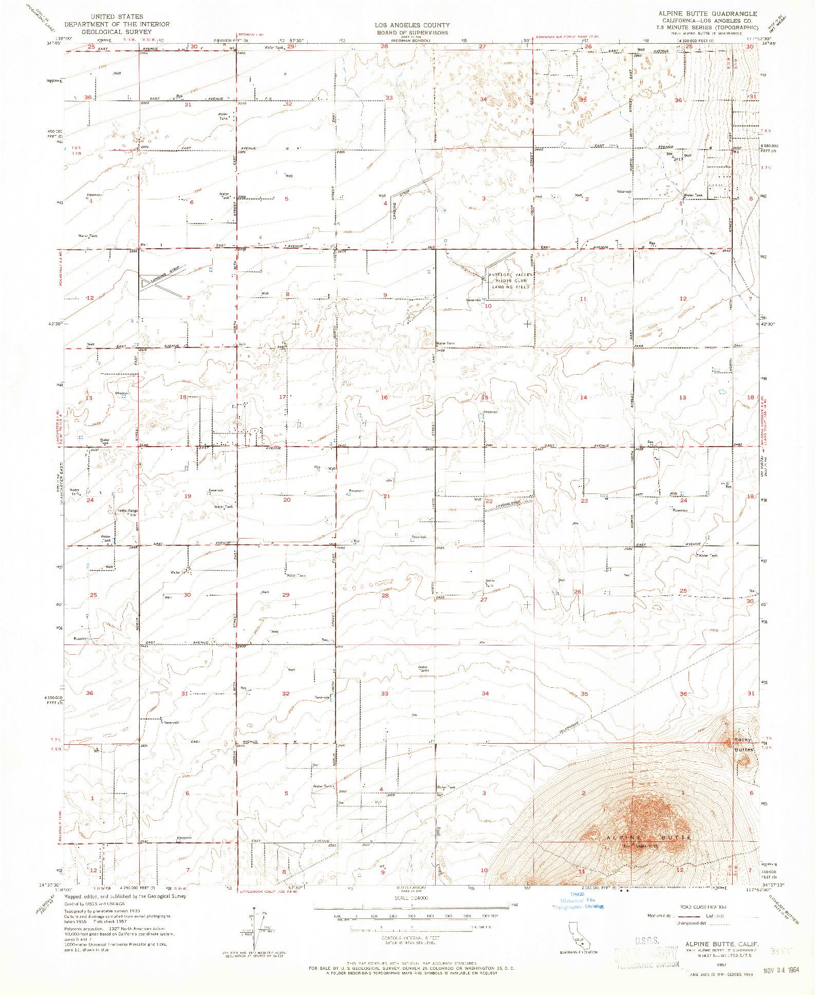 USGS 1:24000-SCALE QUADRANGLE FOR ALPINE BUTTE, CA 1957