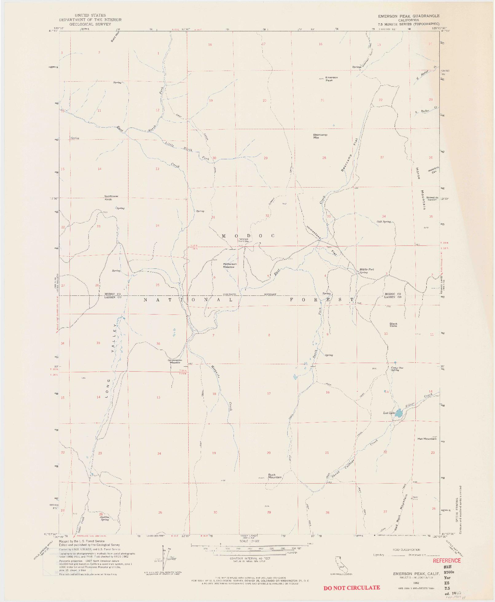 USGS 1:24000-SCALE QUADRANGLE FOR EMERSON PEAK, CA 1962