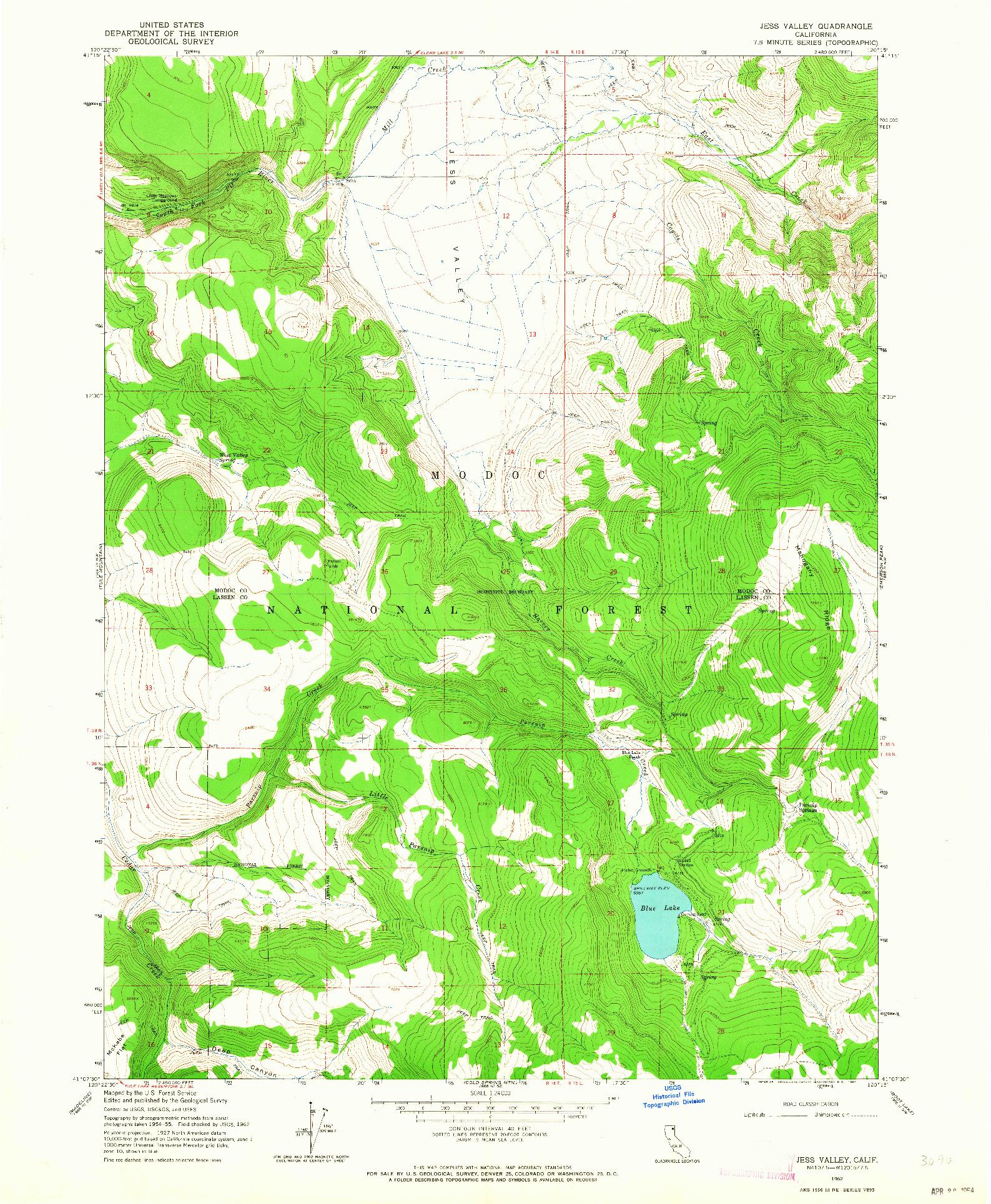 USGS 1:24000-SCALE QUADRANGLE FOR JESS VALLEY, CA 1962