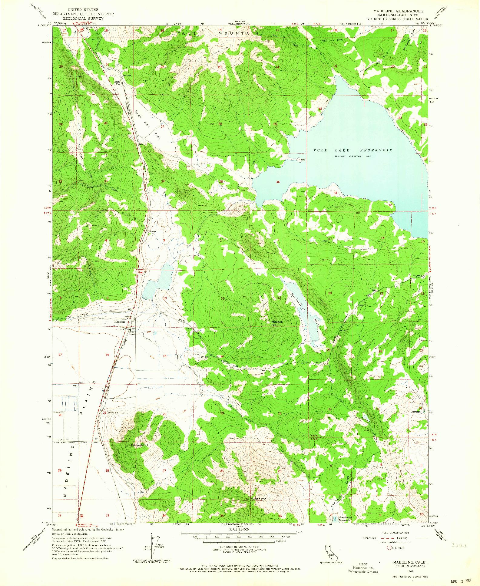 USGS 1:24000-SCALE QUADRANGLE FOR MADELINE, CA 1962