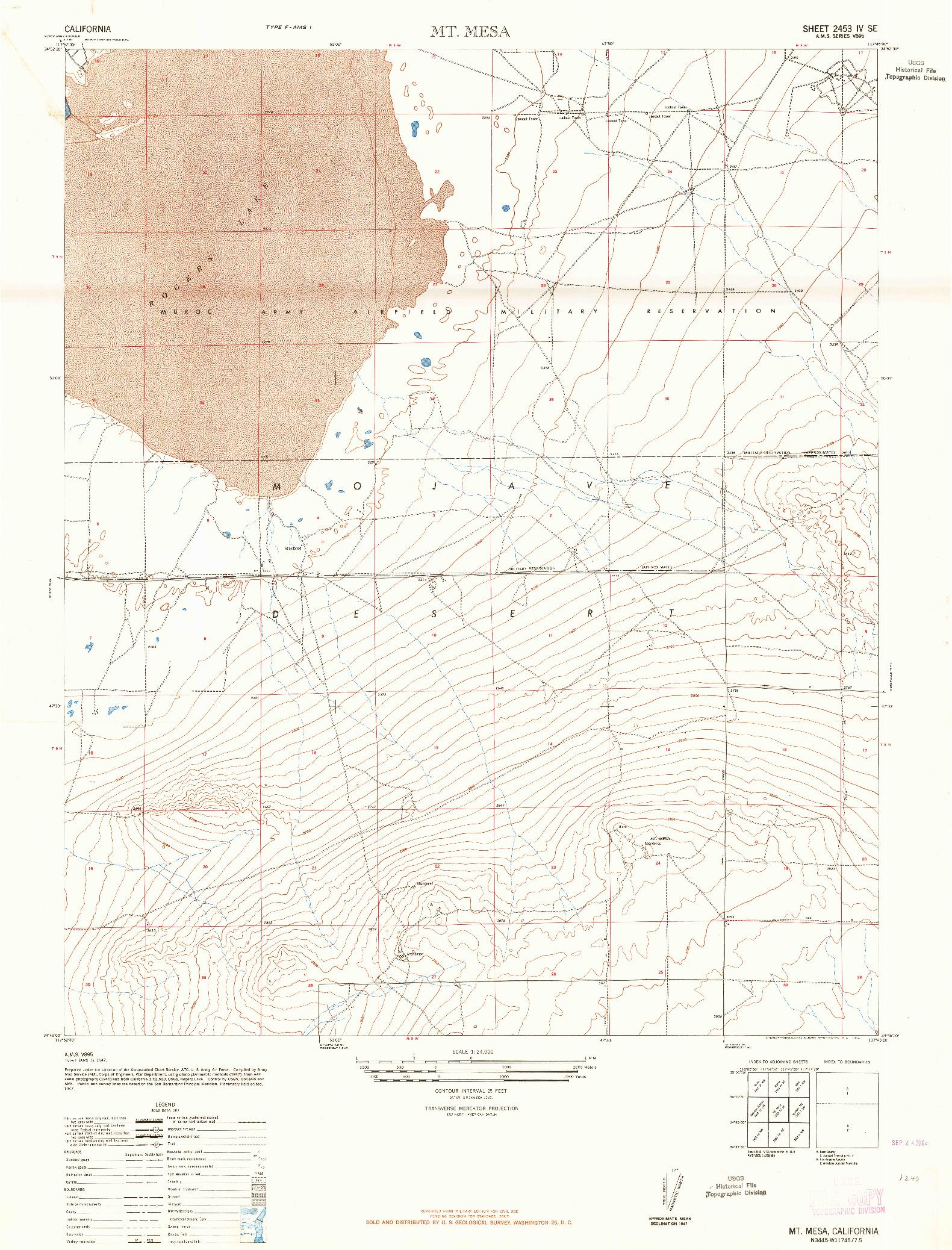 USGS 1:24000-SCALE QUADRANGLE FOR MT. MESA, CA 1947