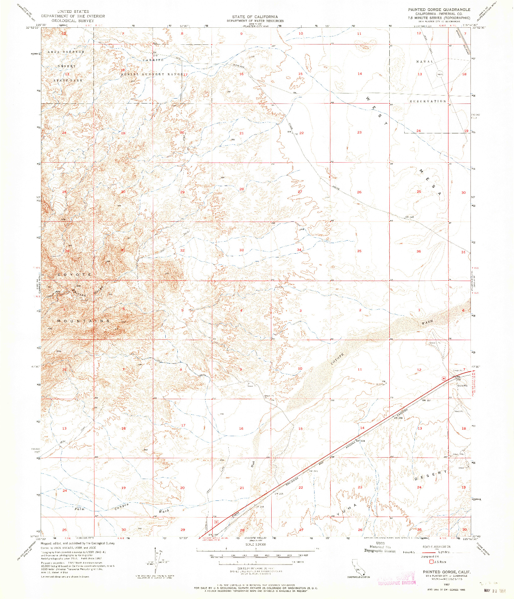 USGS 1:24000-SCALE QUADRANGLE FOR PAINTED GORGE, CA 1957