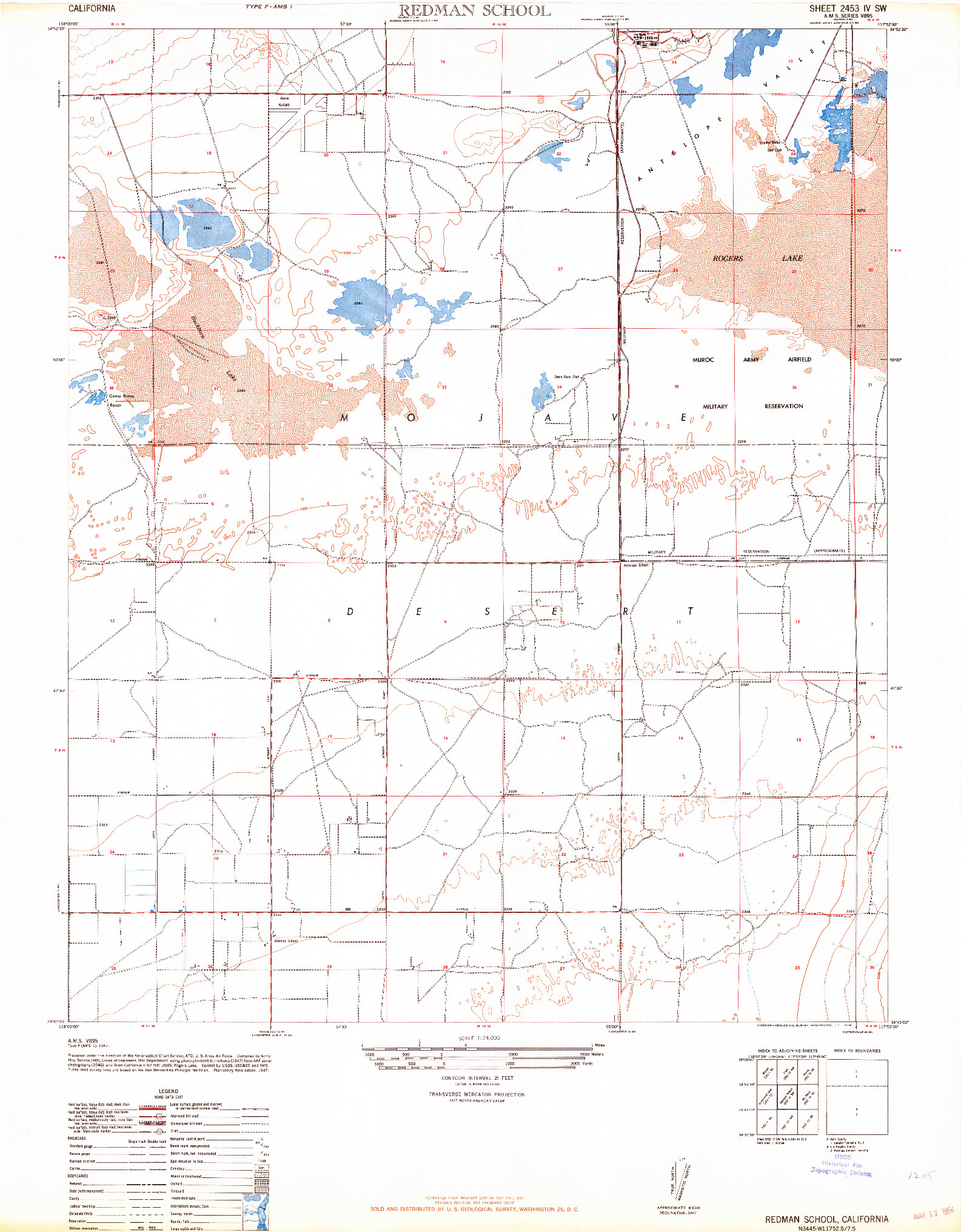 USGS 1:24000-SCALE QUADRANGLE FOR REDMAN SCHOOL, CA 1947