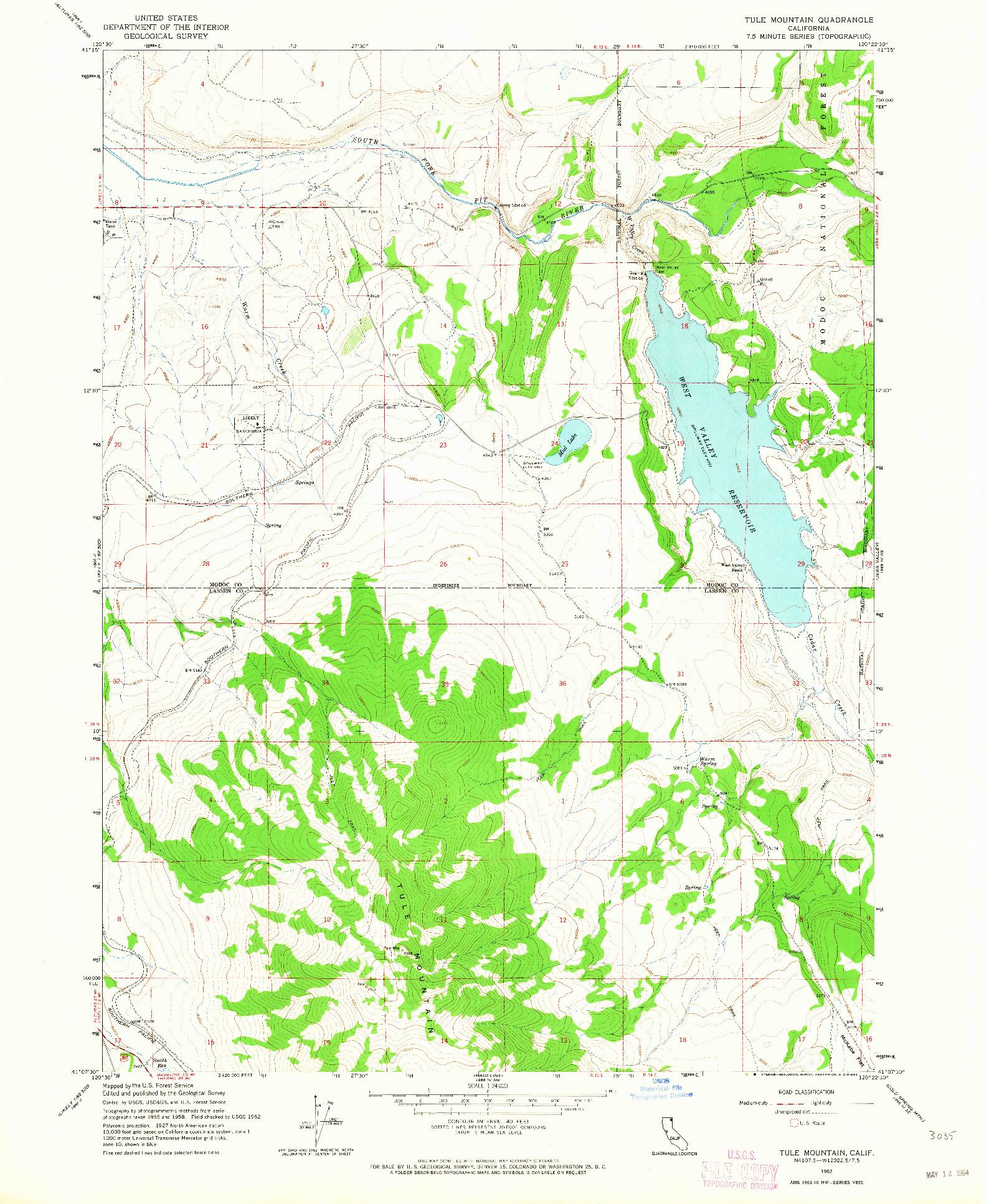 USGS 1:24000-SCALE QUADRANGLE FOR TULE MOUNTAIN, CA 1962