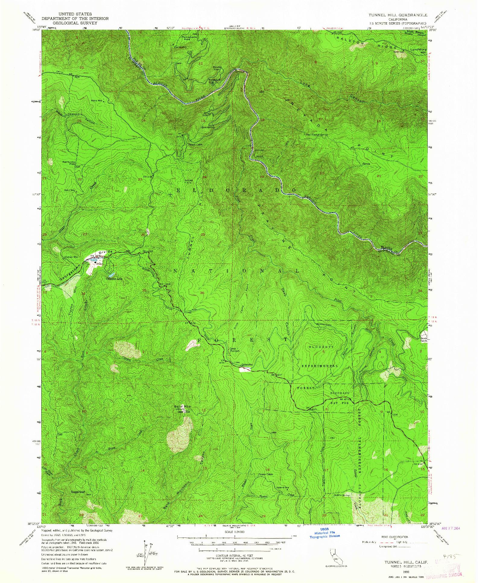 USGS 1:24000-SCALE QUADRANGLE FOR TUNNEL HILL, CA 1950