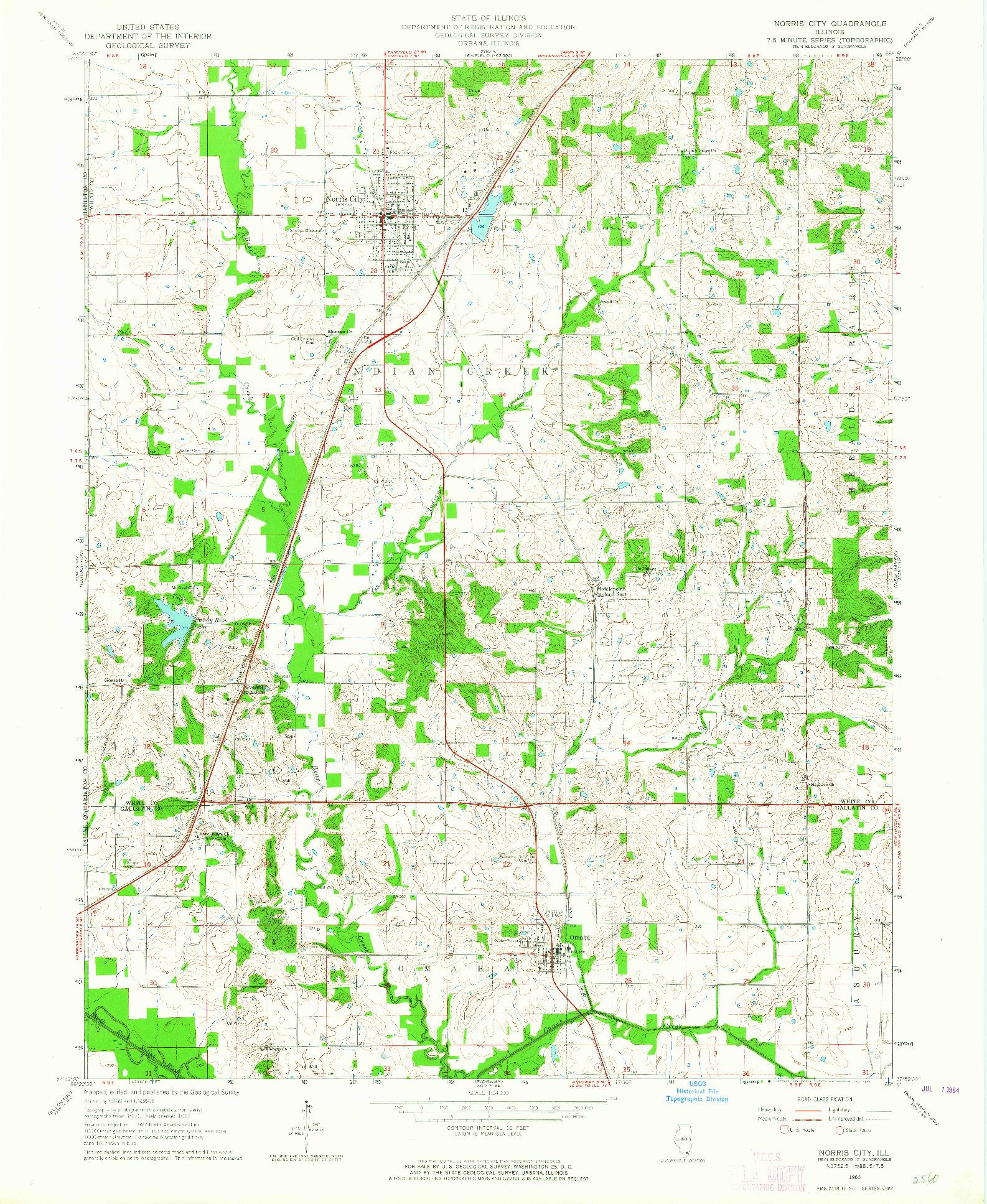 USGS 1:24000-SCALE QUADRANGLE FOR NORRIS CITY, IL 1963