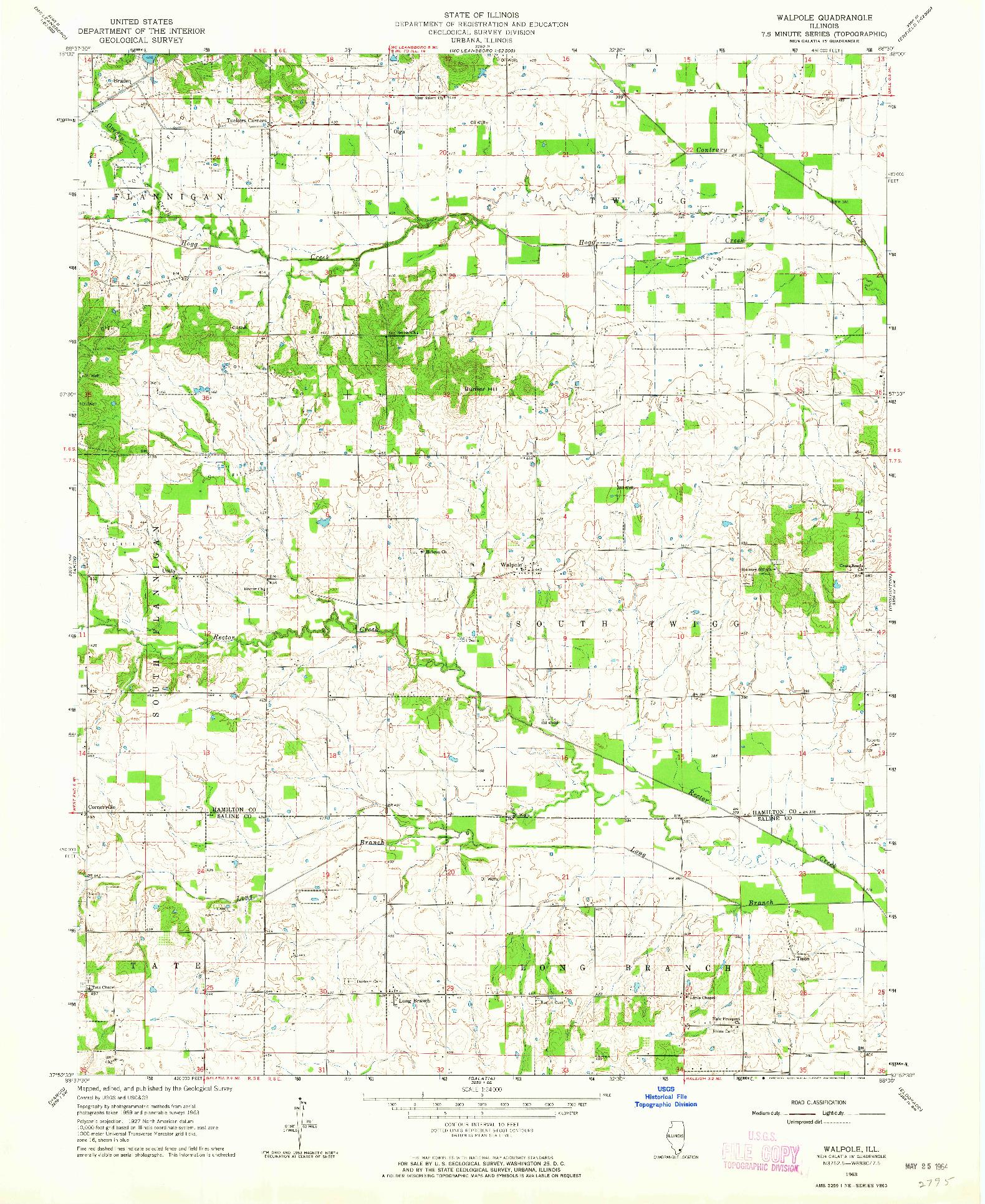 USGS 1:24000-SCALE QUADRANGLE FOR WALPOLE, IL 1963