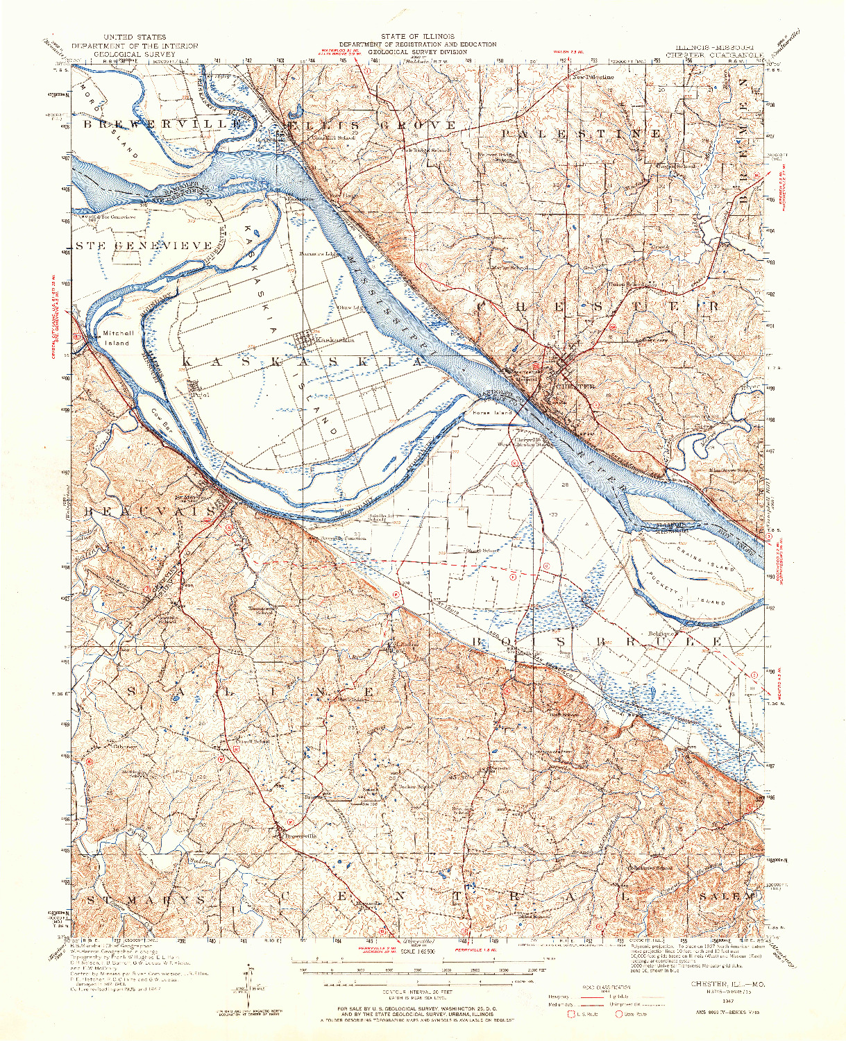 USGS 1:62500-SCALE QUADRANGLE FOR CHESTER, IL 1947