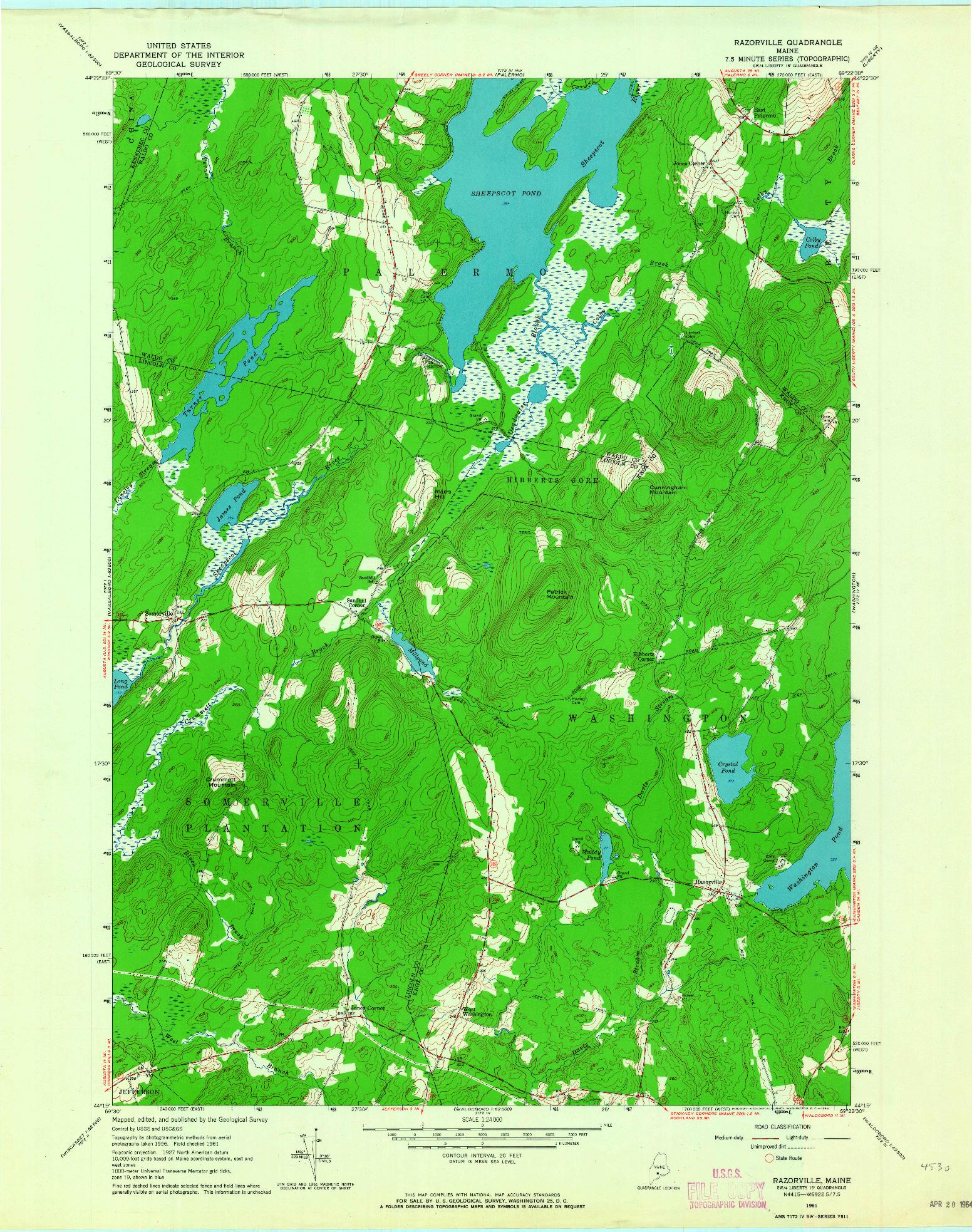 USGS 1:24000-SCALE QUADRANGLE FOR RAZORVILLE, ME 1961