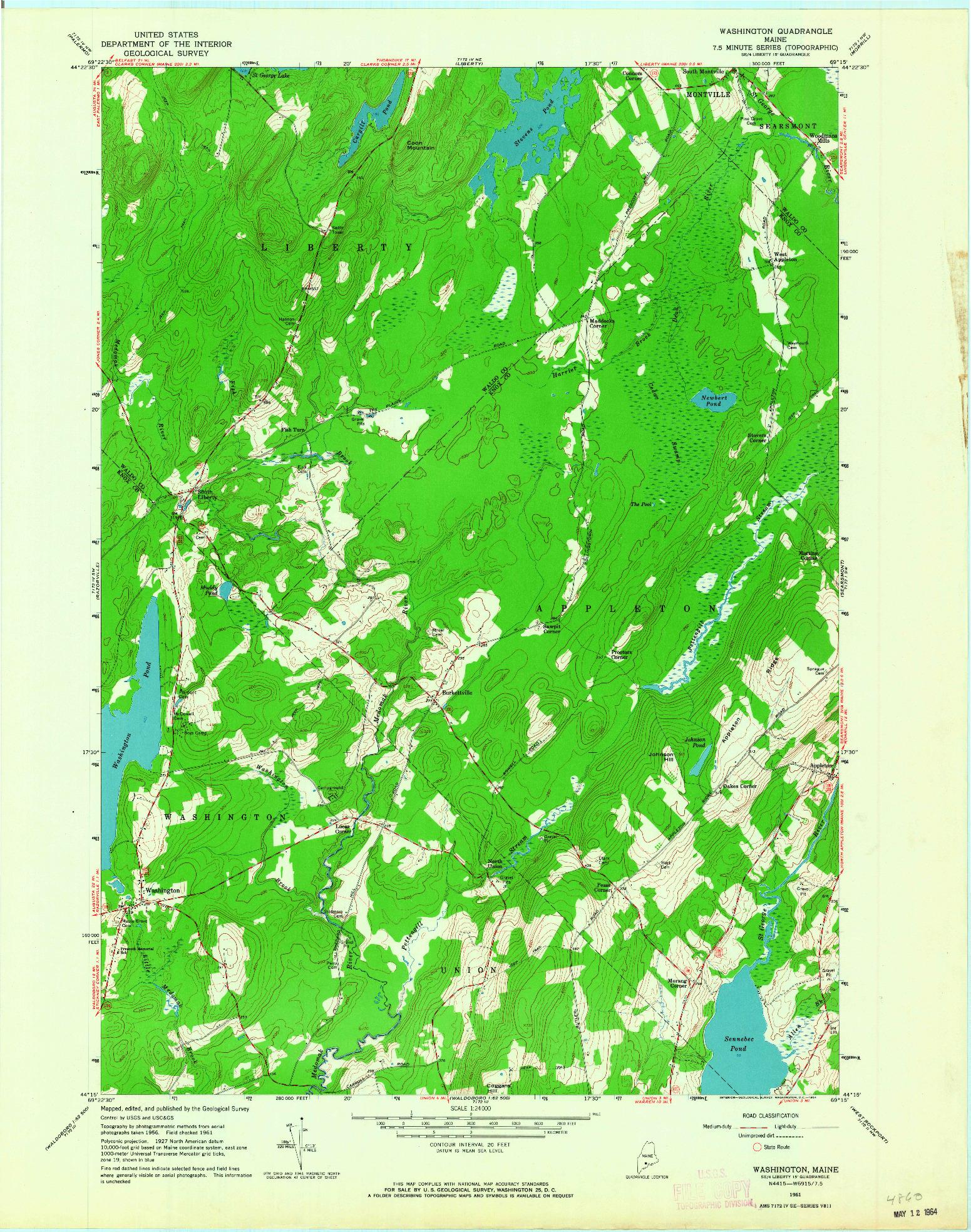 USGS 1:24000-SCALE QUADRANGLE FOR WASHINGTON, ME 1961