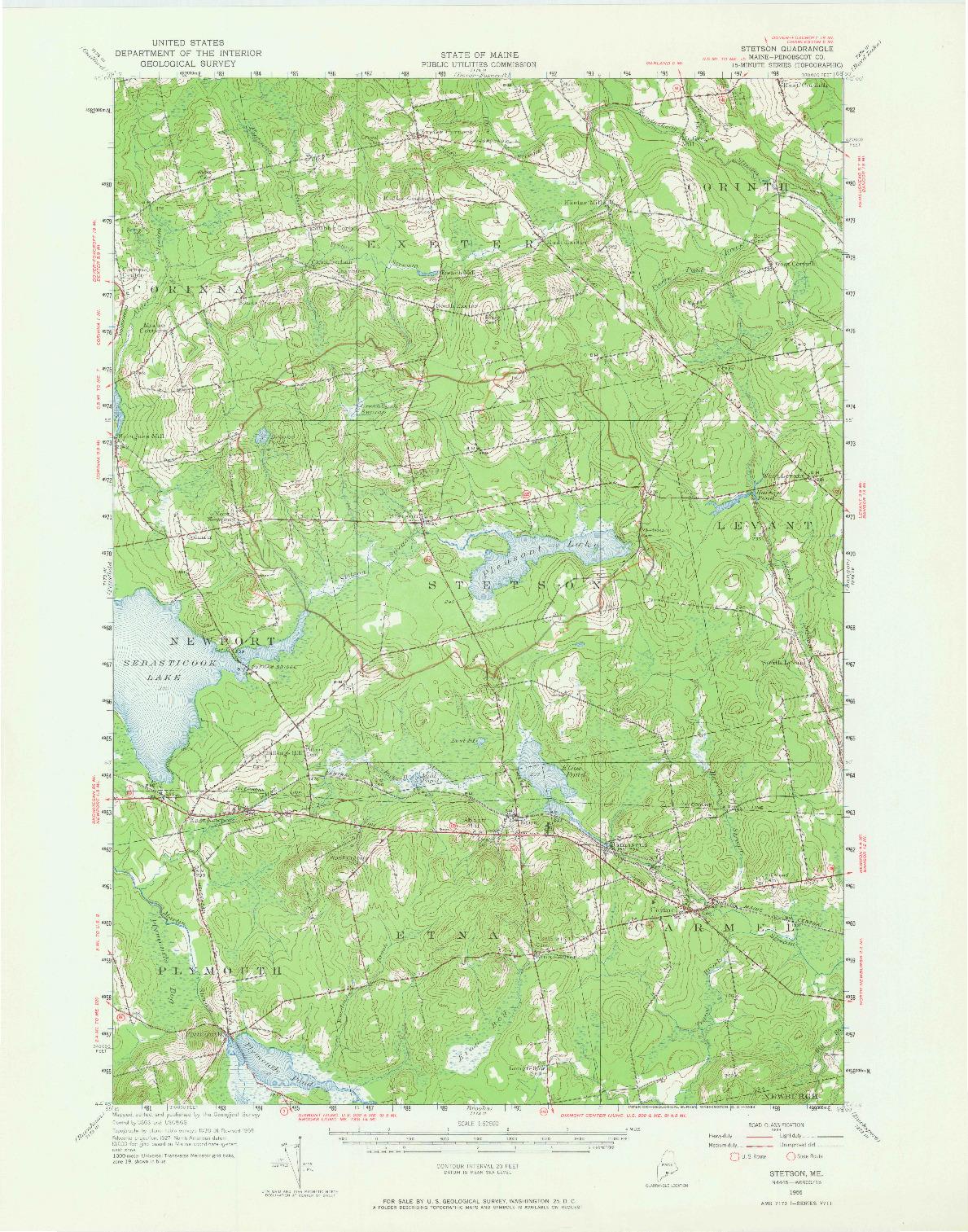 USGS 1:62500-SCALE QUADRANGLE FOR STETSON, ME 1955