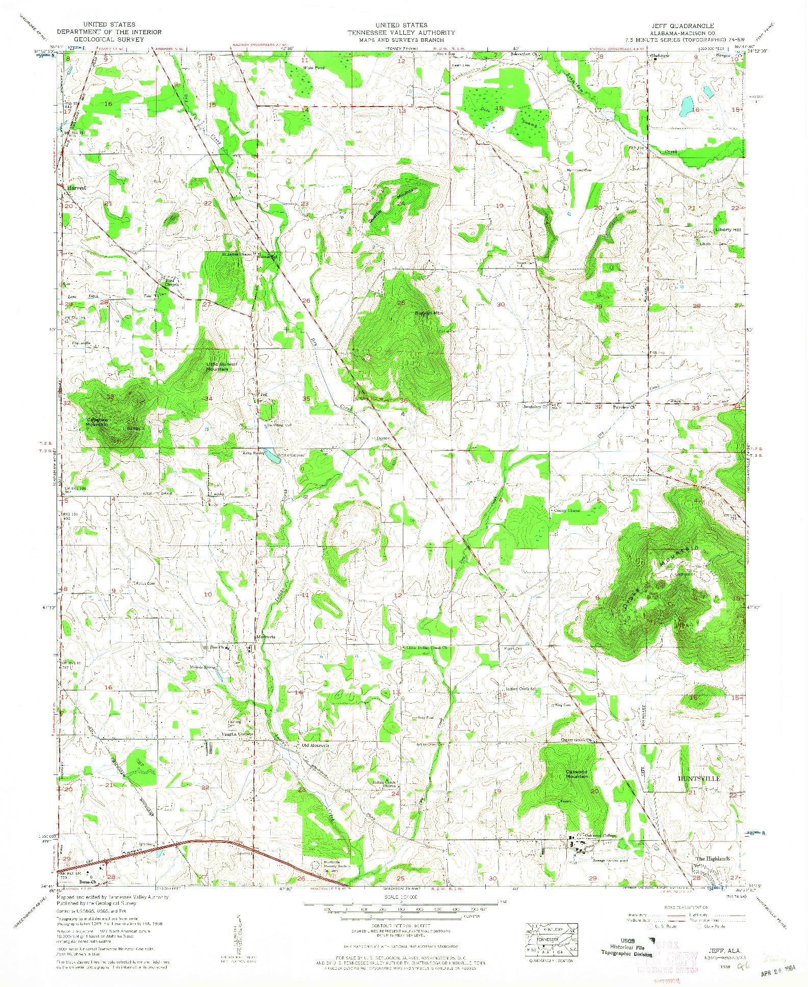 USGS 1:24000-SCALE QUADRANGLE FOR JEFF, AL 1958