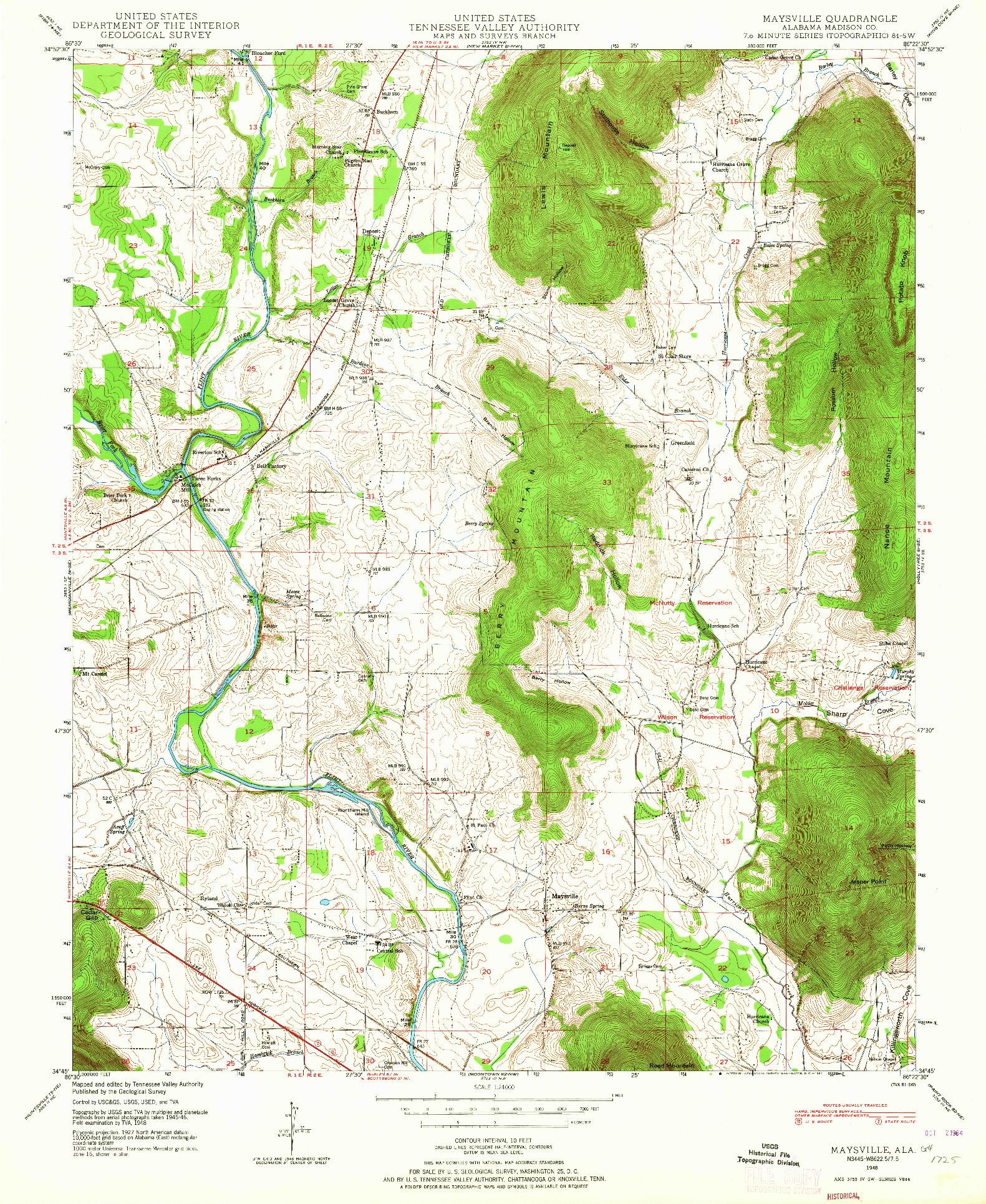 USGS 1:24000-SCALE QUADRANGLE FOR MAYSVILLE, AL 1948