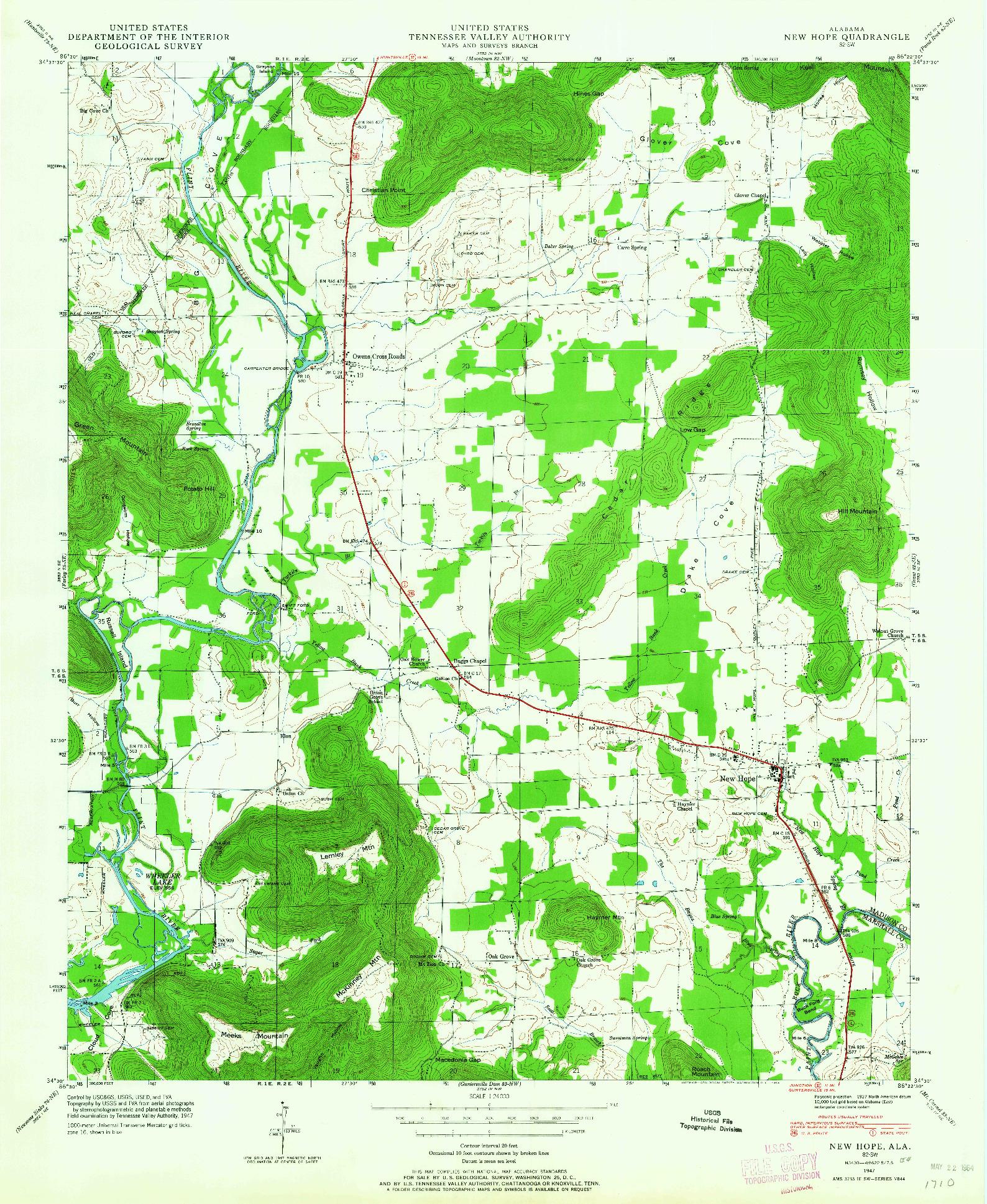 USGS 1:24000-SCALE QUADRANGLE FOR NEW HOPE, AL 1947
