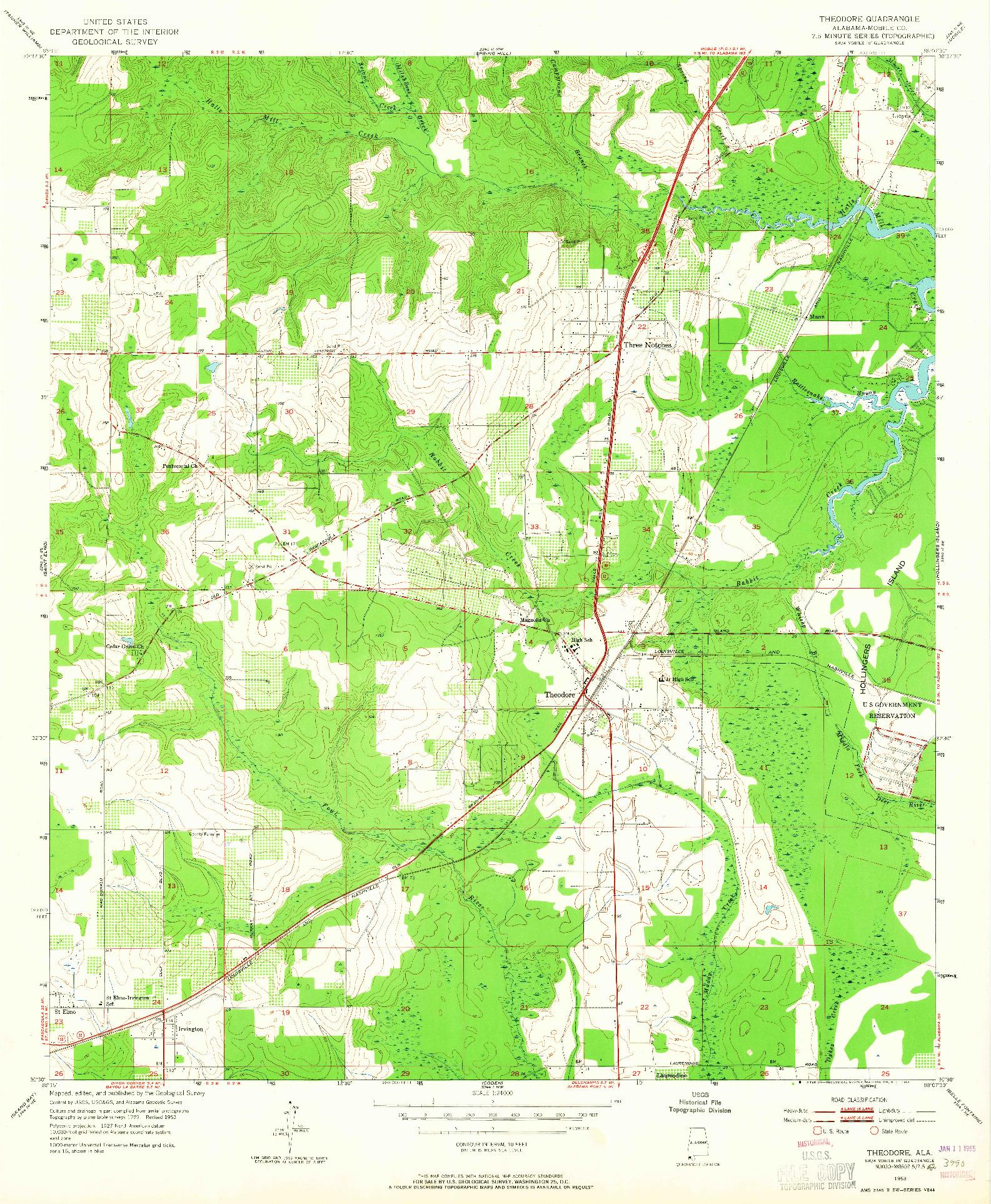USGS 1:24000-SCALE QUADRANGLE FOR THEODORE, AL 1953