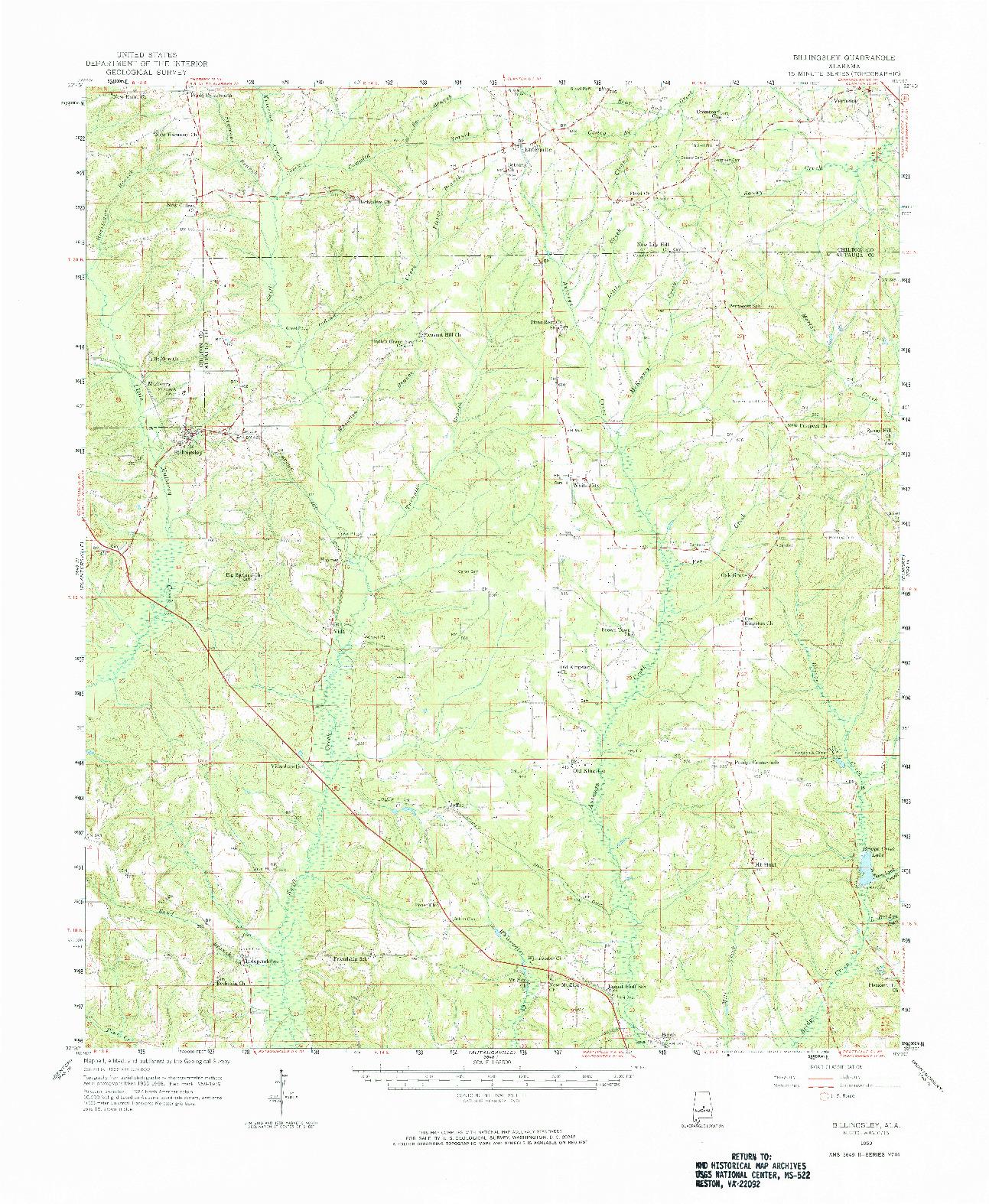USGS 1:62500-SCALE QUADRANGLE FOR BILLINGSLEY, AL 1959