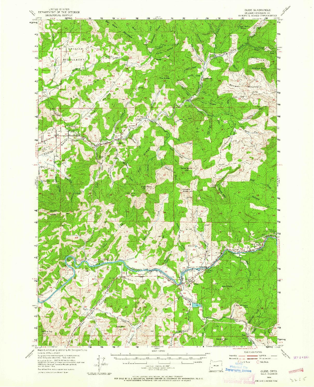 USGS 1:62500-SCALE QUADRANGLE FOR GLIDE, OR 1954