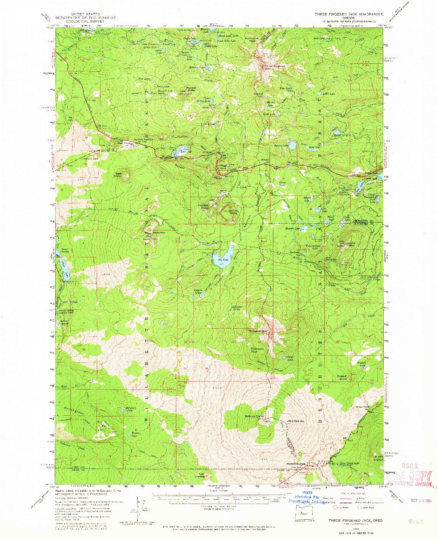 USGS 1:62500-SCALE QUADRANGLE FOR THREE FINGERED JACK, OR 1959