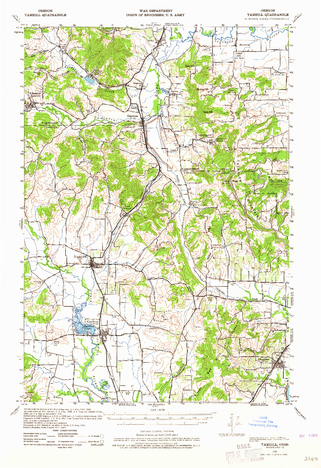USGS 1:62500-SCALE QUADRANGLE FOR YAMHILL, OR 1941