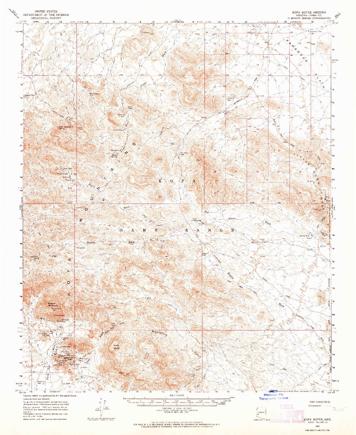 USGS 1:62500-SCALE QUADRANGLE FOR KOFA BUTTE, AZ 1962
