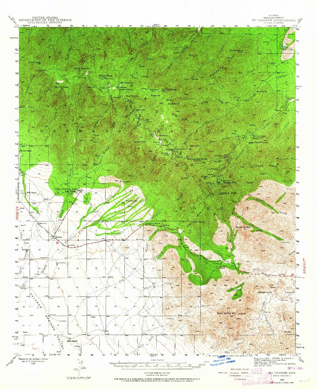 USGS 1:62500-SCALE QUADRANGLE FOR MT. GRAHAM, AZ 1942