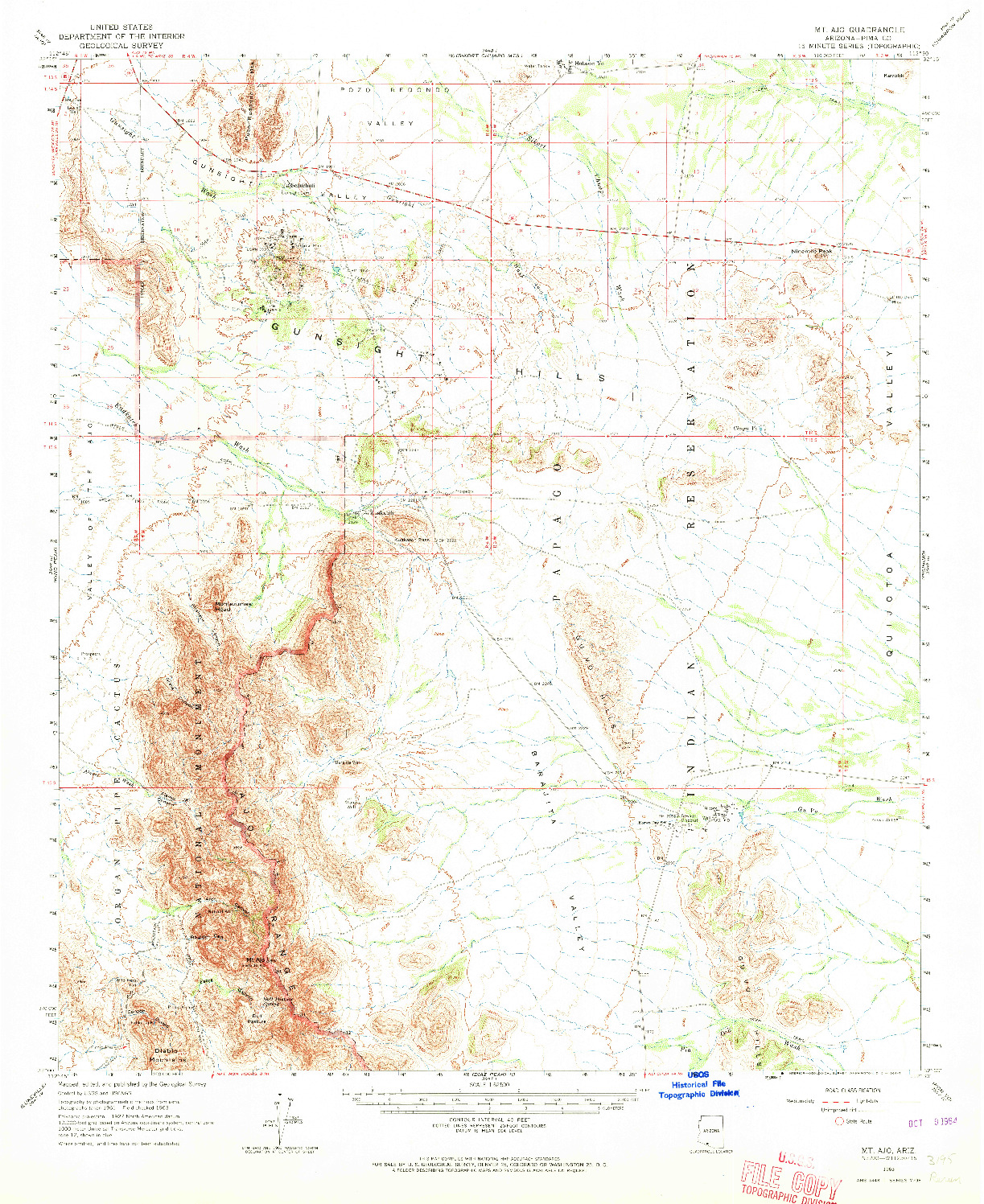 USGS 1:62500-SCALE QUADRANGLE FOR MT. AJO, AZ 1963
