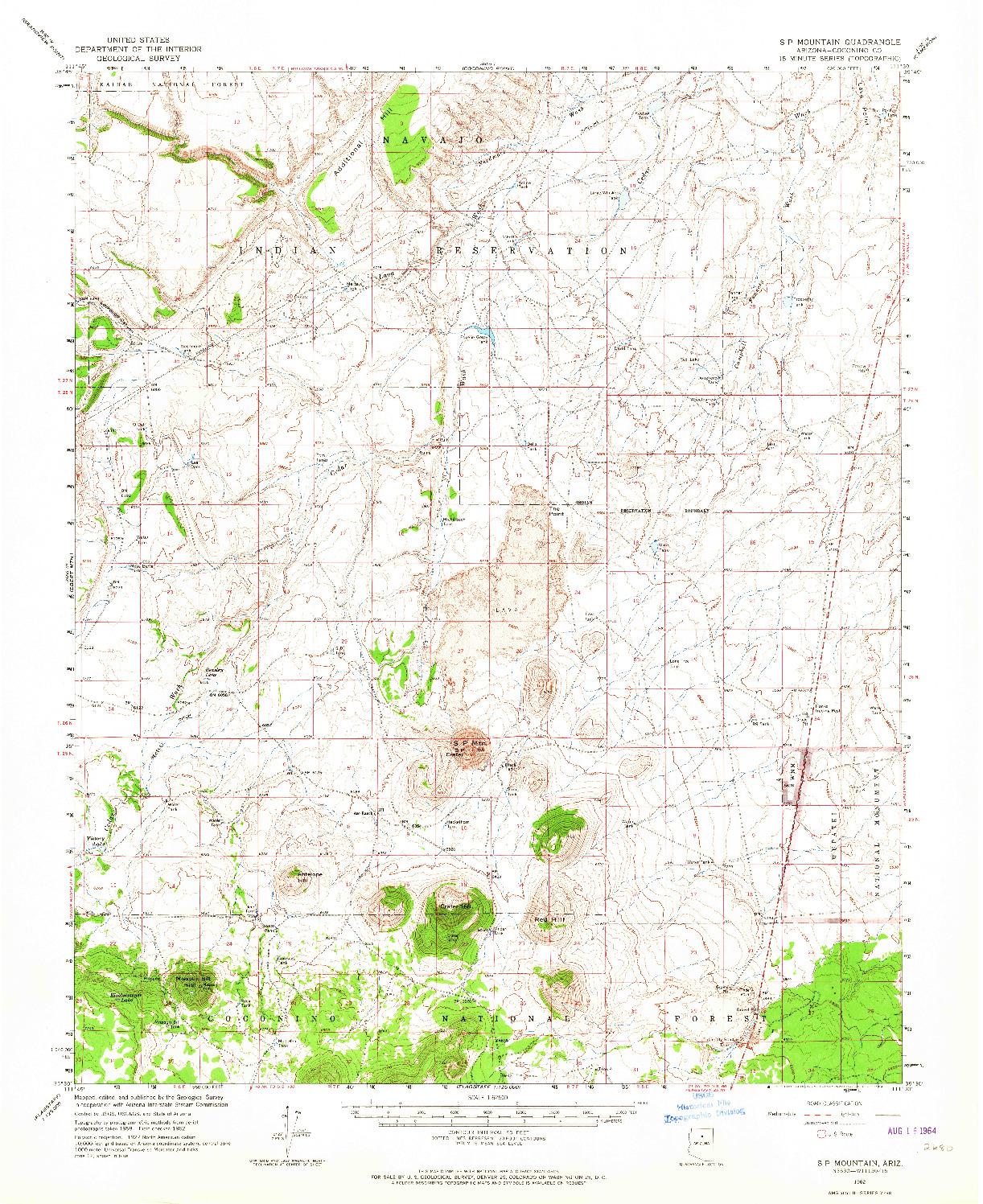 USGS 1:62500-SCALE QUADRANGLE FOR S P MOUNTAIN, AZ 1962