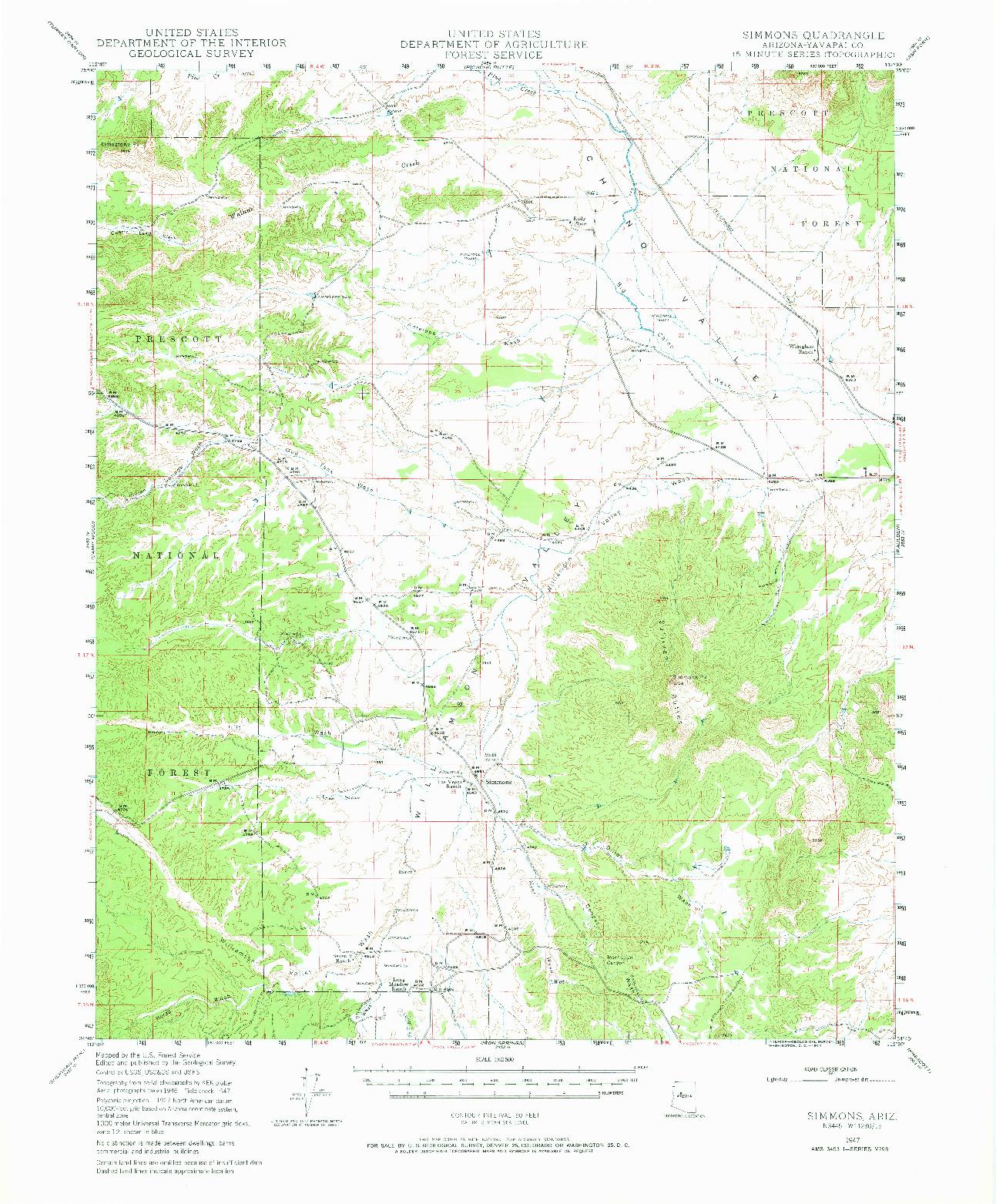 USGS 1:62500-SCALE QUADRANGLE FOR SIMMONS, AZ 1947