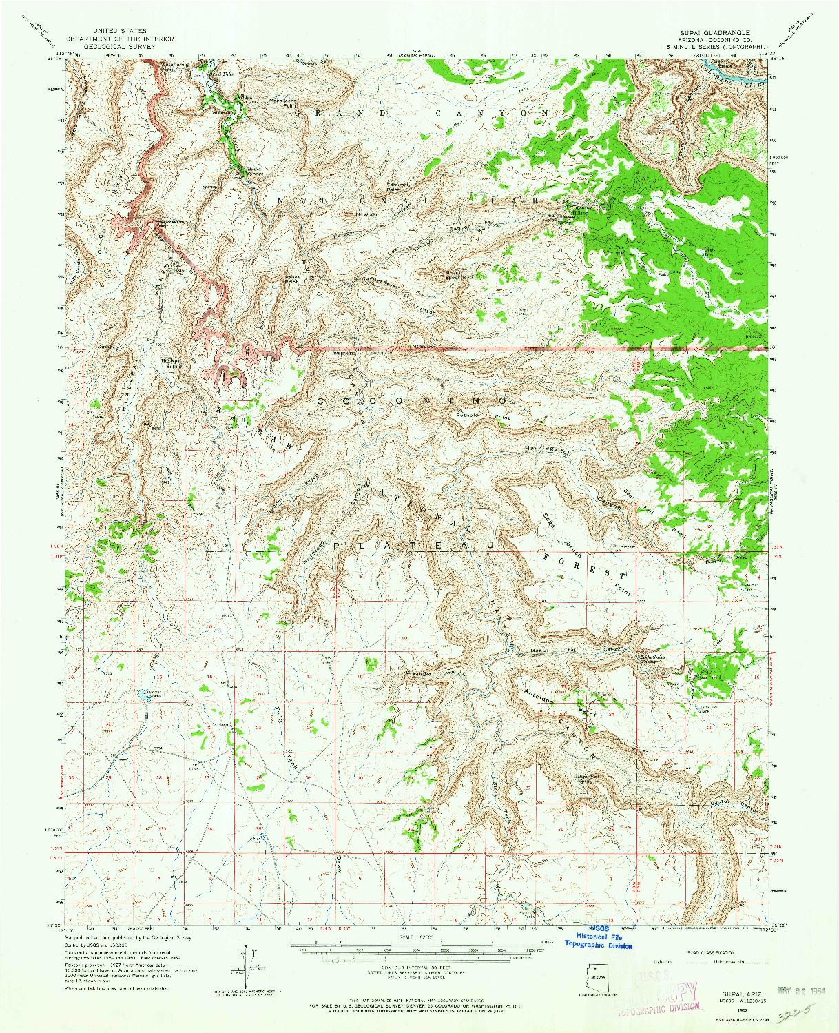 USGS 1:62500-SCALE QUADRANGLE FOR SUPAI, AZ 1962